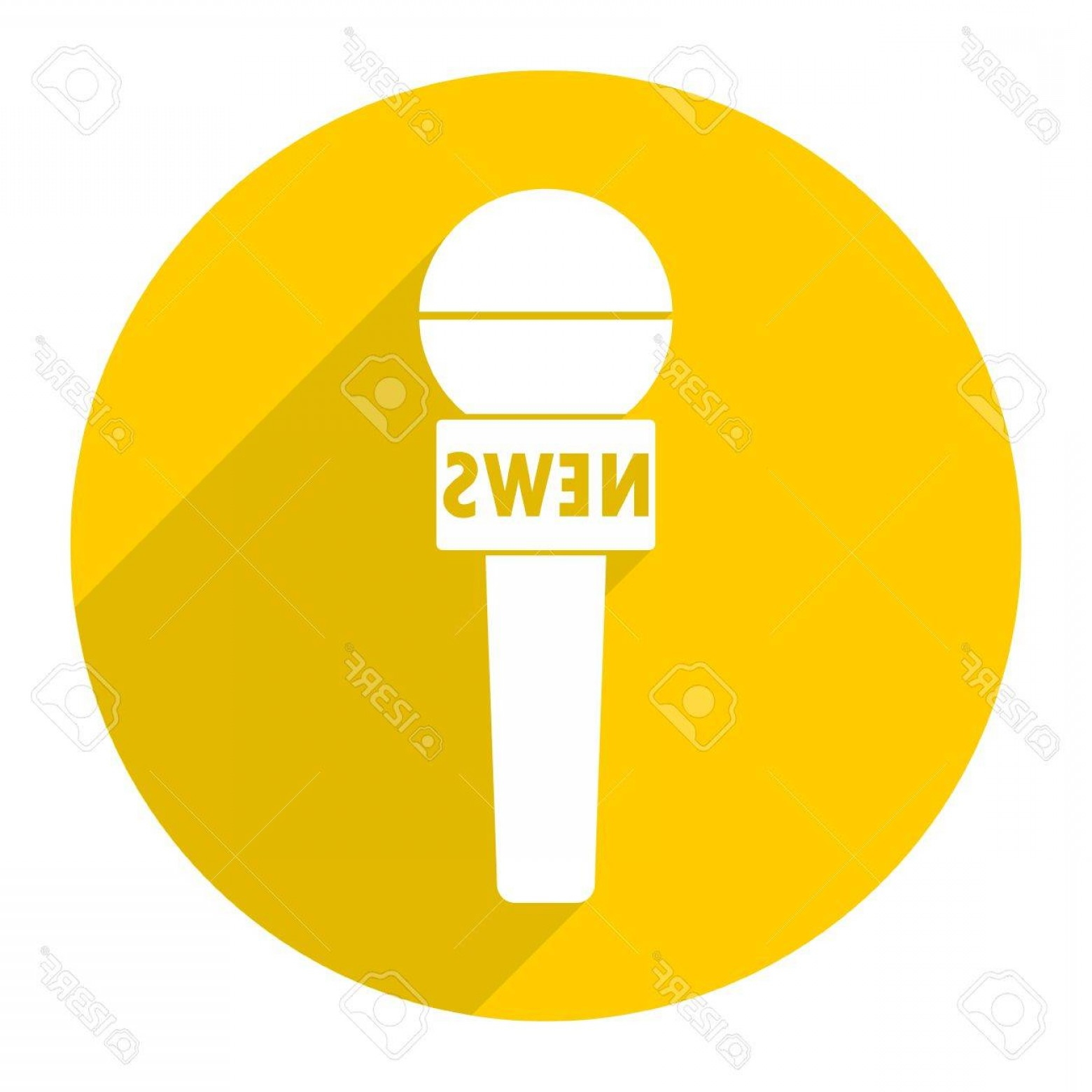 News Microphone Icon Vector: Photostock Vector News Reporter Microphone Icon With Long Shadow