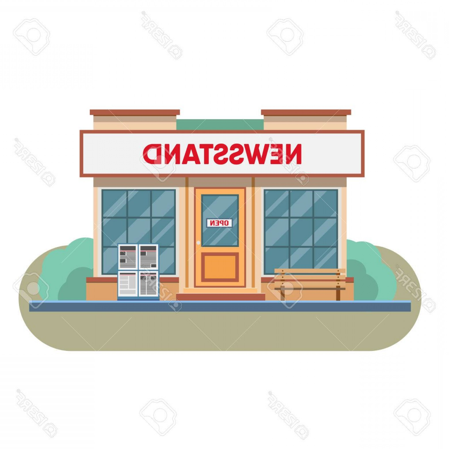 Vector Newspapers Snacks: Photostock Vector Newsstand Selling Newspapers And Magazines In Town Vector Illustration