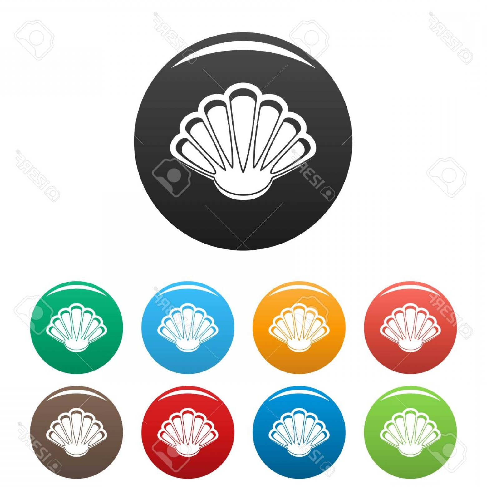 Shell Vector Icons: Photostock Vector Nice Shell Icon Simple Illustration Of Nice Shell Vector Icons Set Color Isolated On White