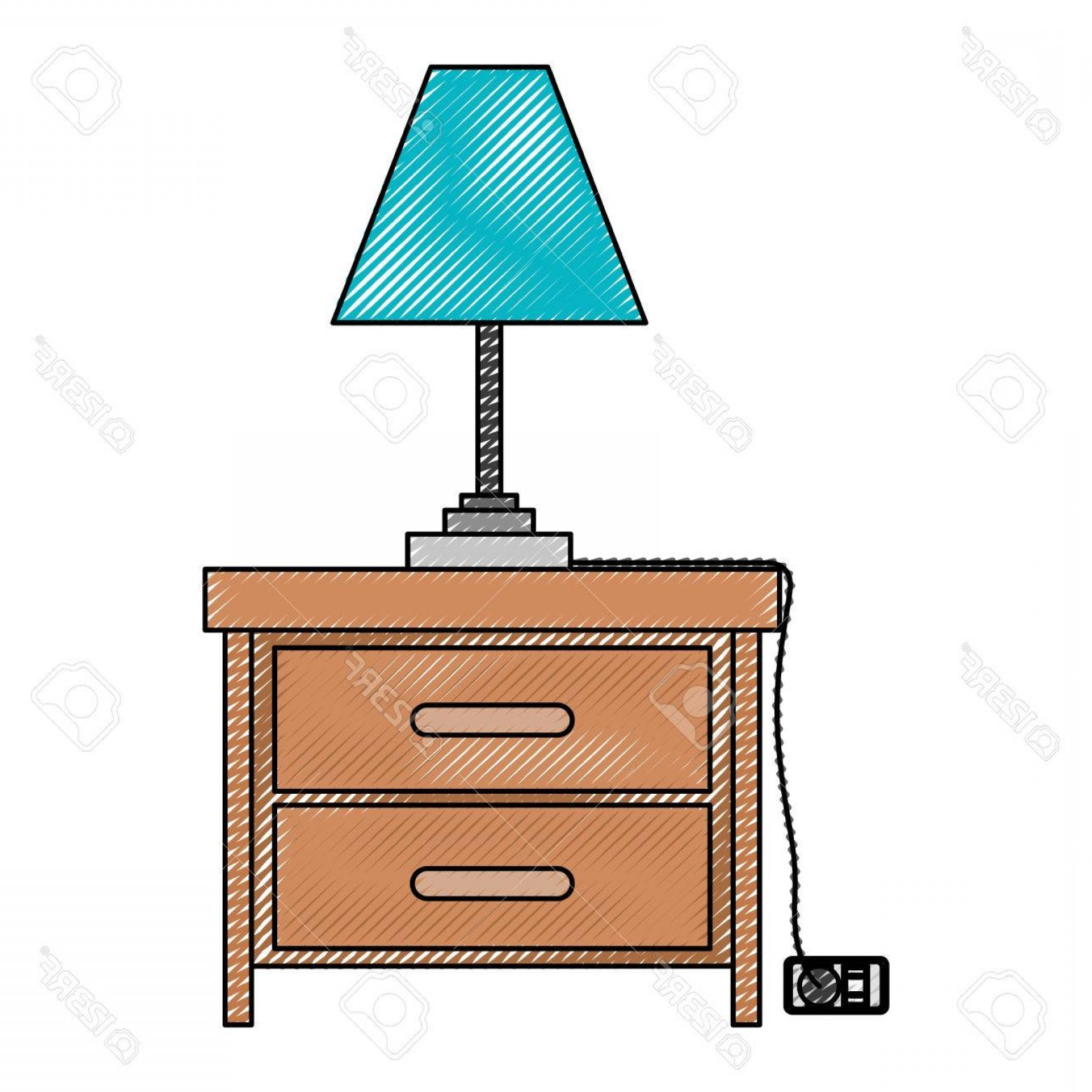 D Night Stanf Vector Graphic: Photostock Vector Nightstand With Lamp In Color Crayon Silhouette On White Background Vector Illustration