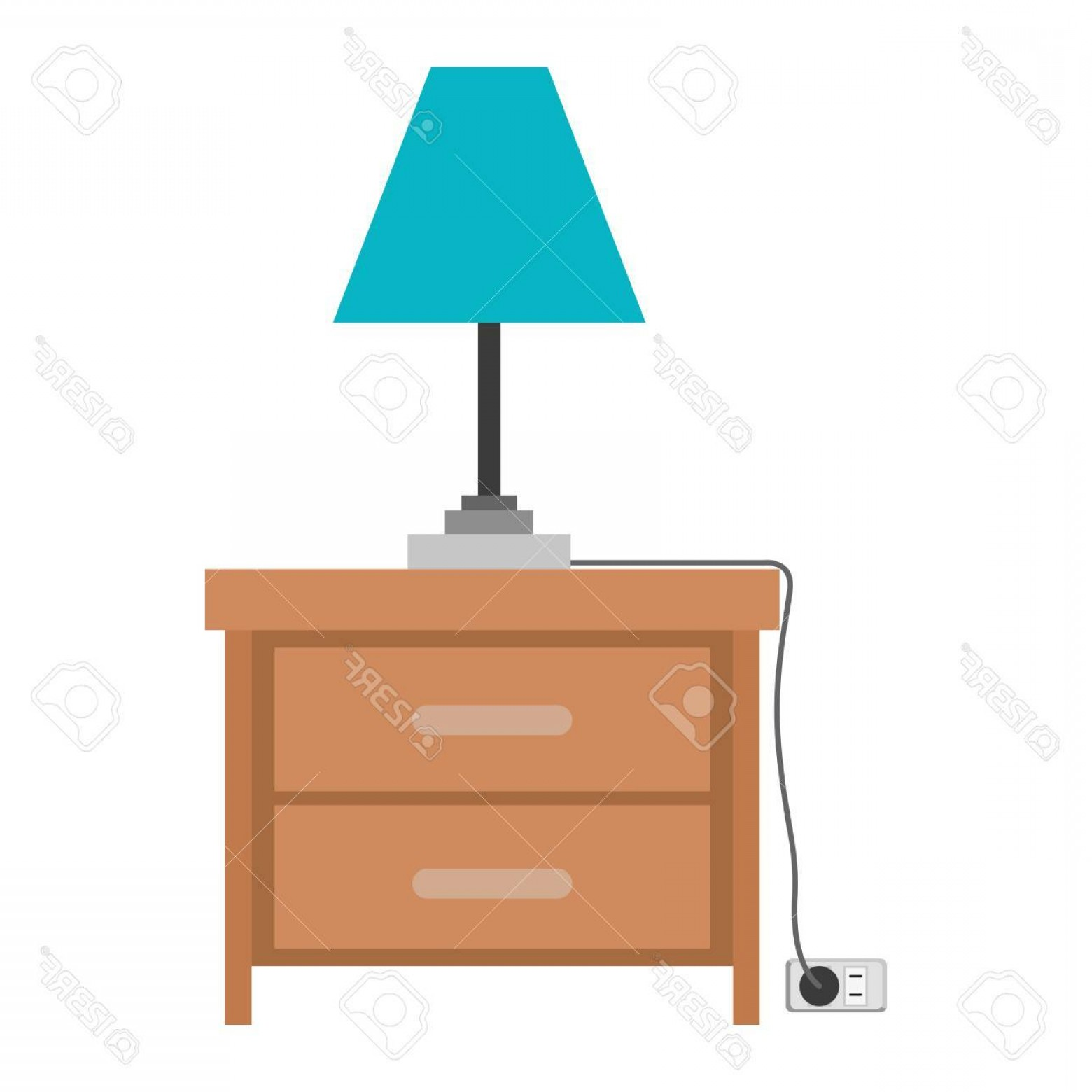 D Night Stanf Vector Graphic: Photostock Vector Nightstand With Lamp In Colorful Silhouette On White Background Vector Illustration