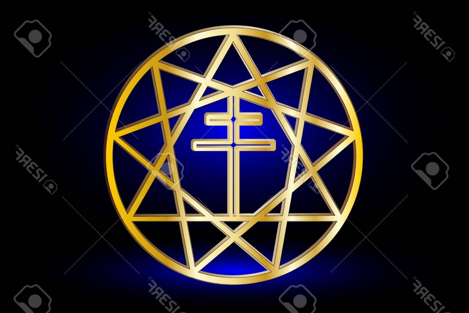 Pointed Cross Vector: Photostock Vector Nine Pointed Star Stars In A Circle Star And Cross