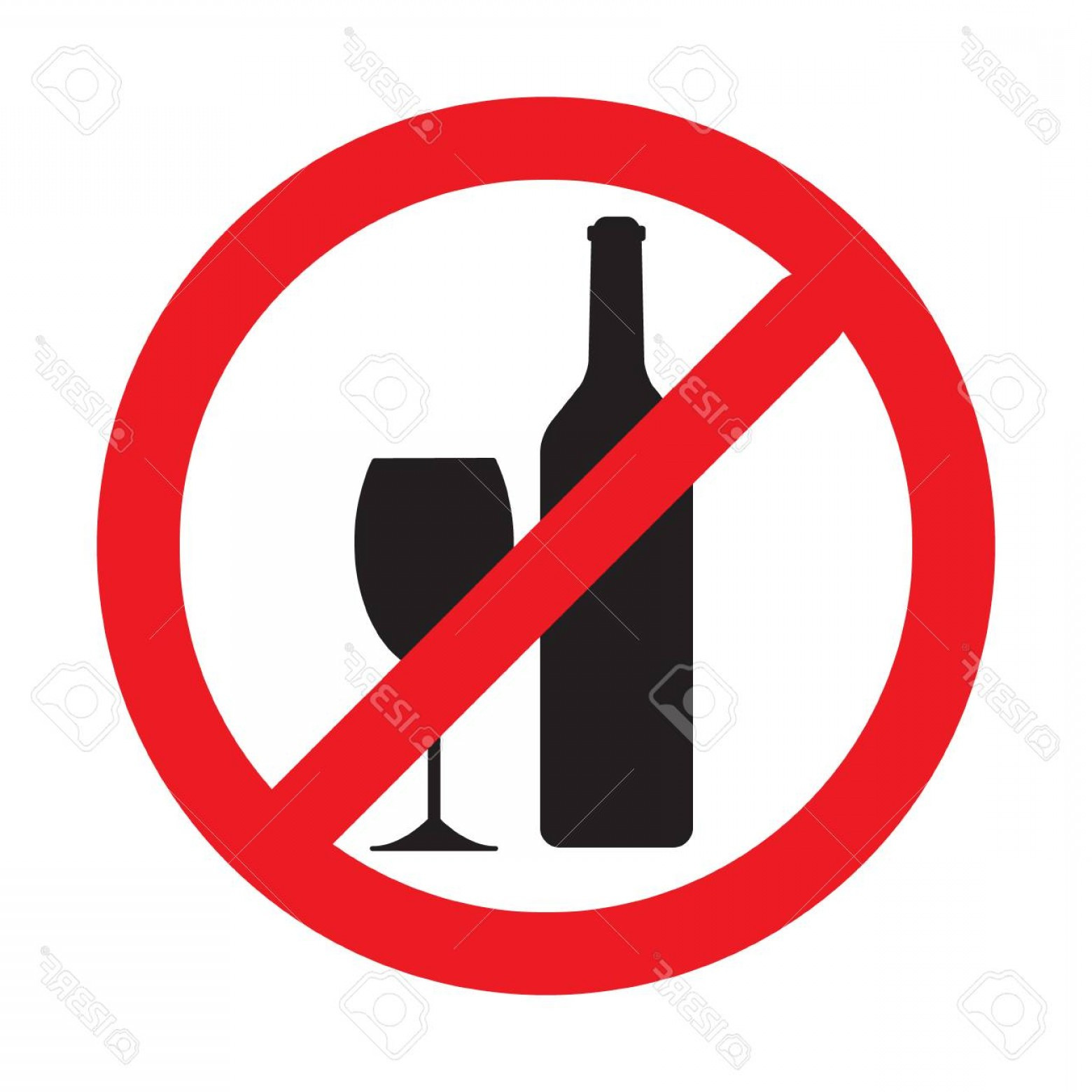 Vector No Alcohol: Photostock Vector No Alcohol Drink Sign Vector Logo Element No Drinking Sign No Alcohol Sign Isolated On White Backgro