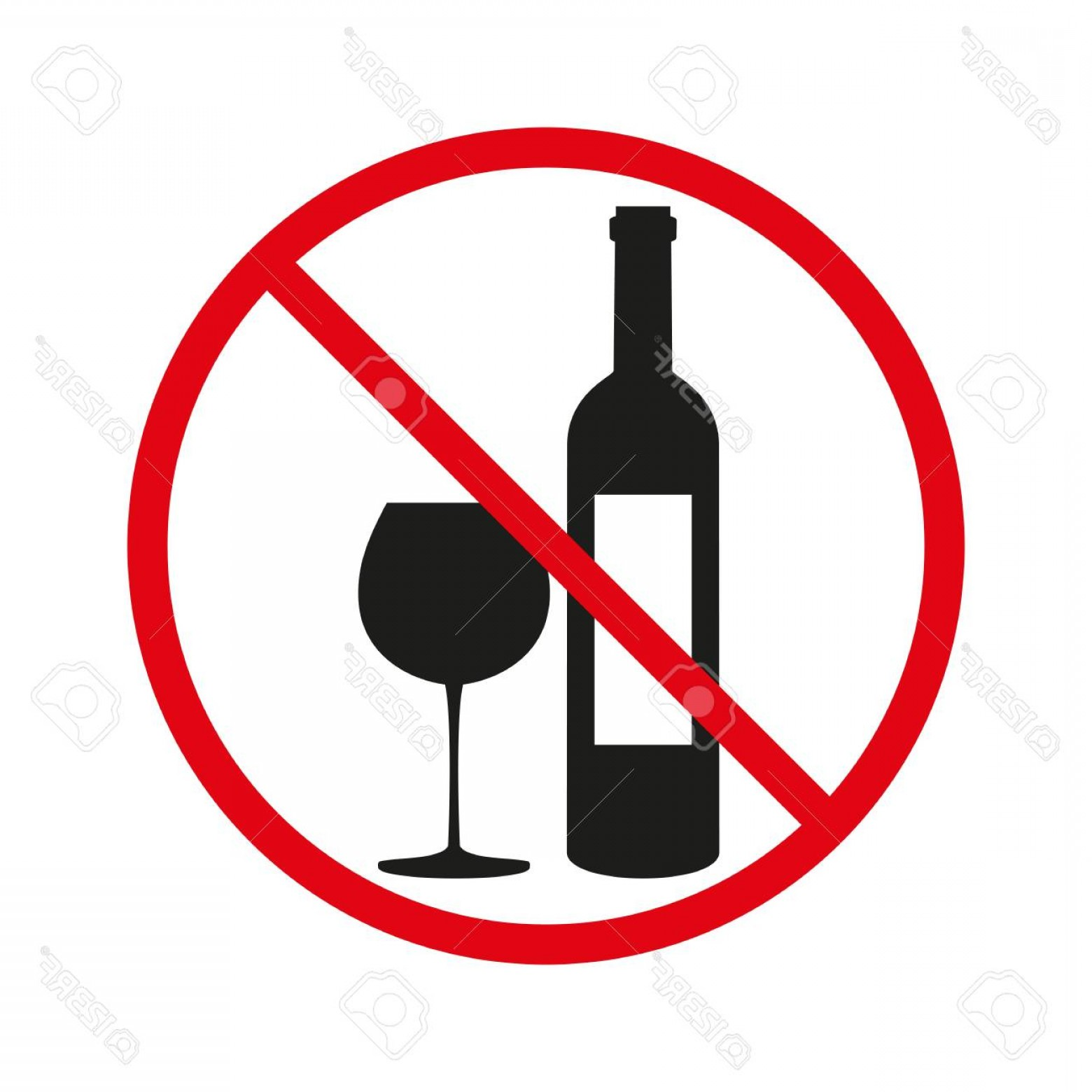 Vector No Alcohol: Photostock Vector No Alcohol Sign On White Background Vector Illustration
