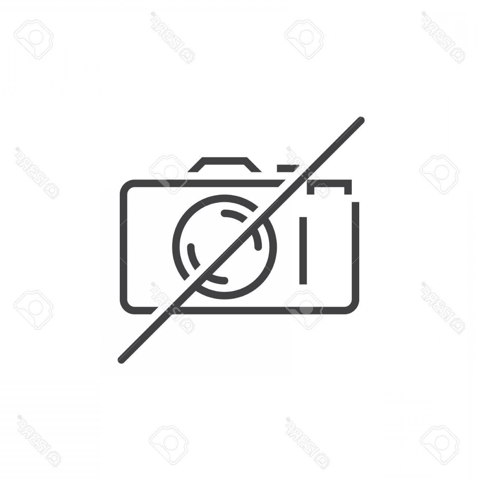 Camera Outline Vector Graphic: Photostock Vector No Photography Line Icon Forbidden To Use Camera Outline Vector Logo Linear Pictogram Isolated On Wh