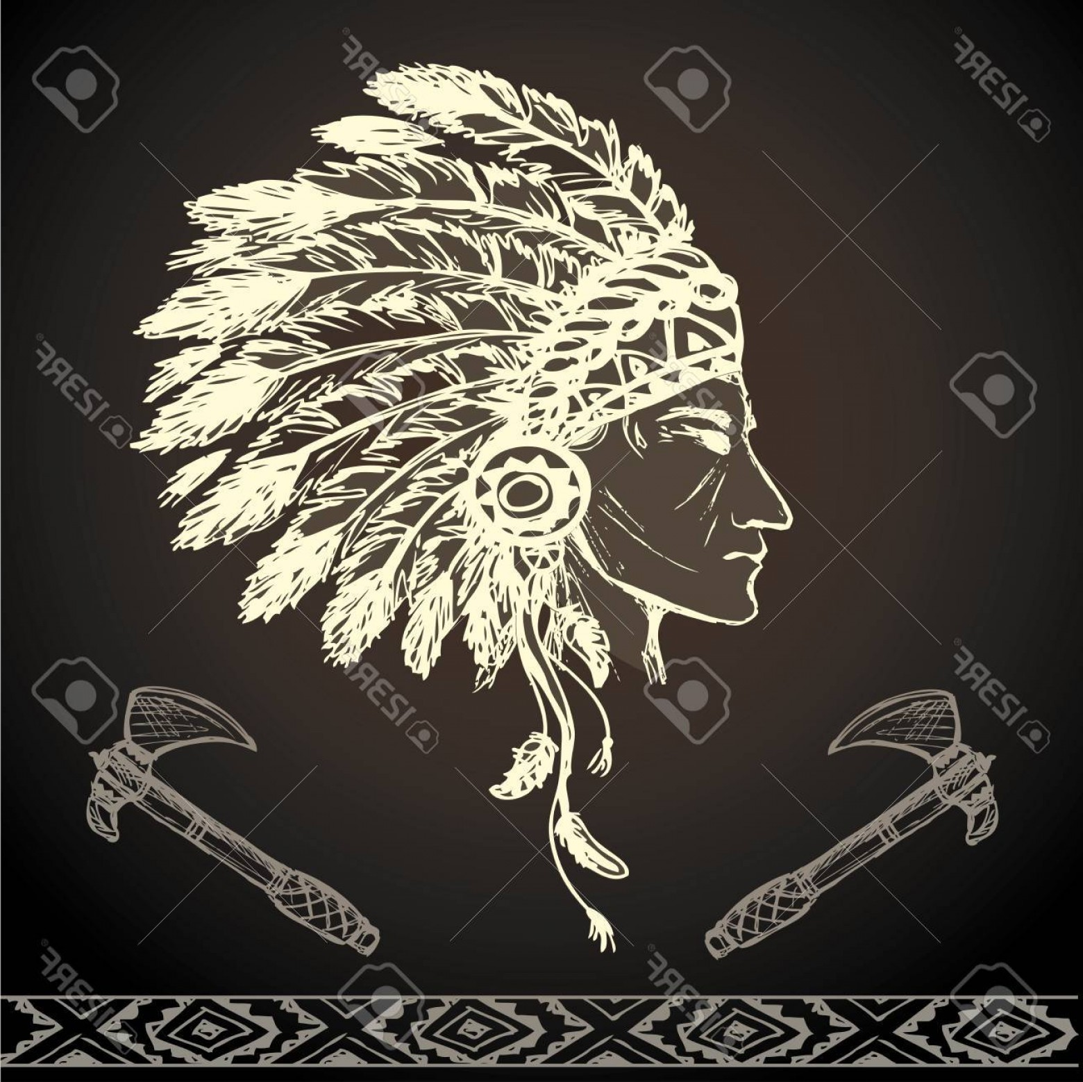 American Indian Chief Vector: Photostock Vector North American Indian Chief With Tomahawk Hand Drawn Vector