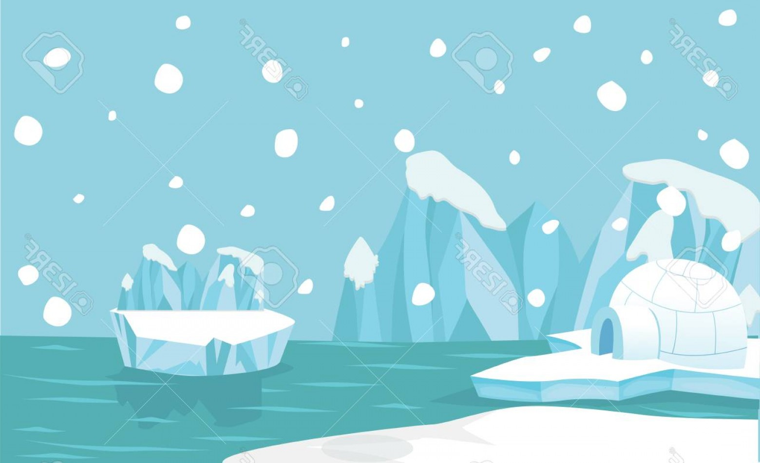 North Pole Landscape Vector: Photostock Vector North Pole Arctic Landscape Background