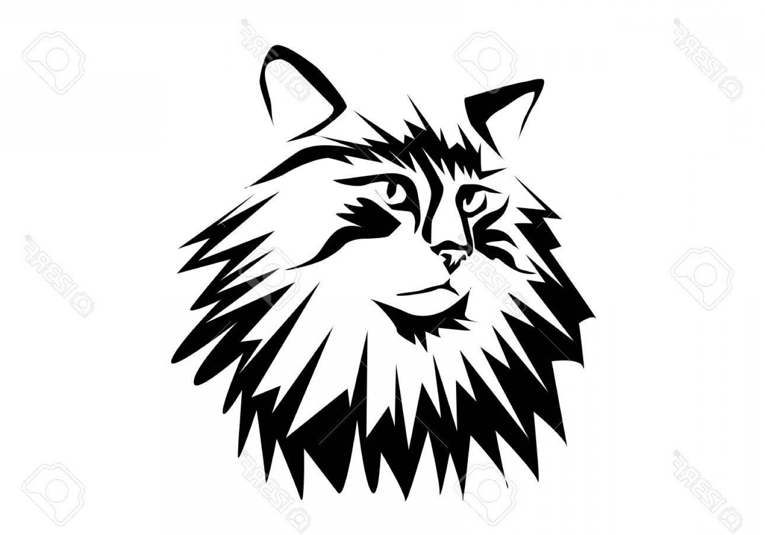 Malee Cat Head Silhouette Vector: Photostock Vector Norwegian Forest Cat Silhouette Isolated On White