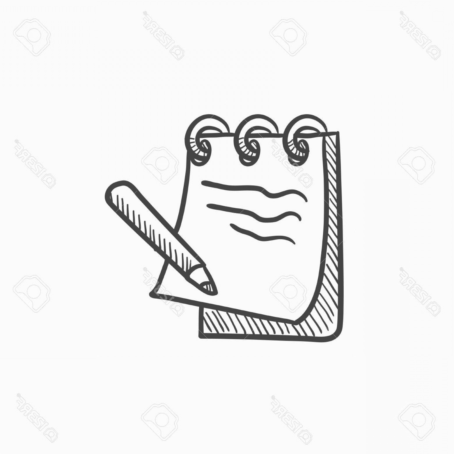 Notepad Writing Hand Vector: Photostock Vector Notepad With Pencil Vector Sketch Icon Isolated On Background Hand Drawn Notepad With Pencil Icon No