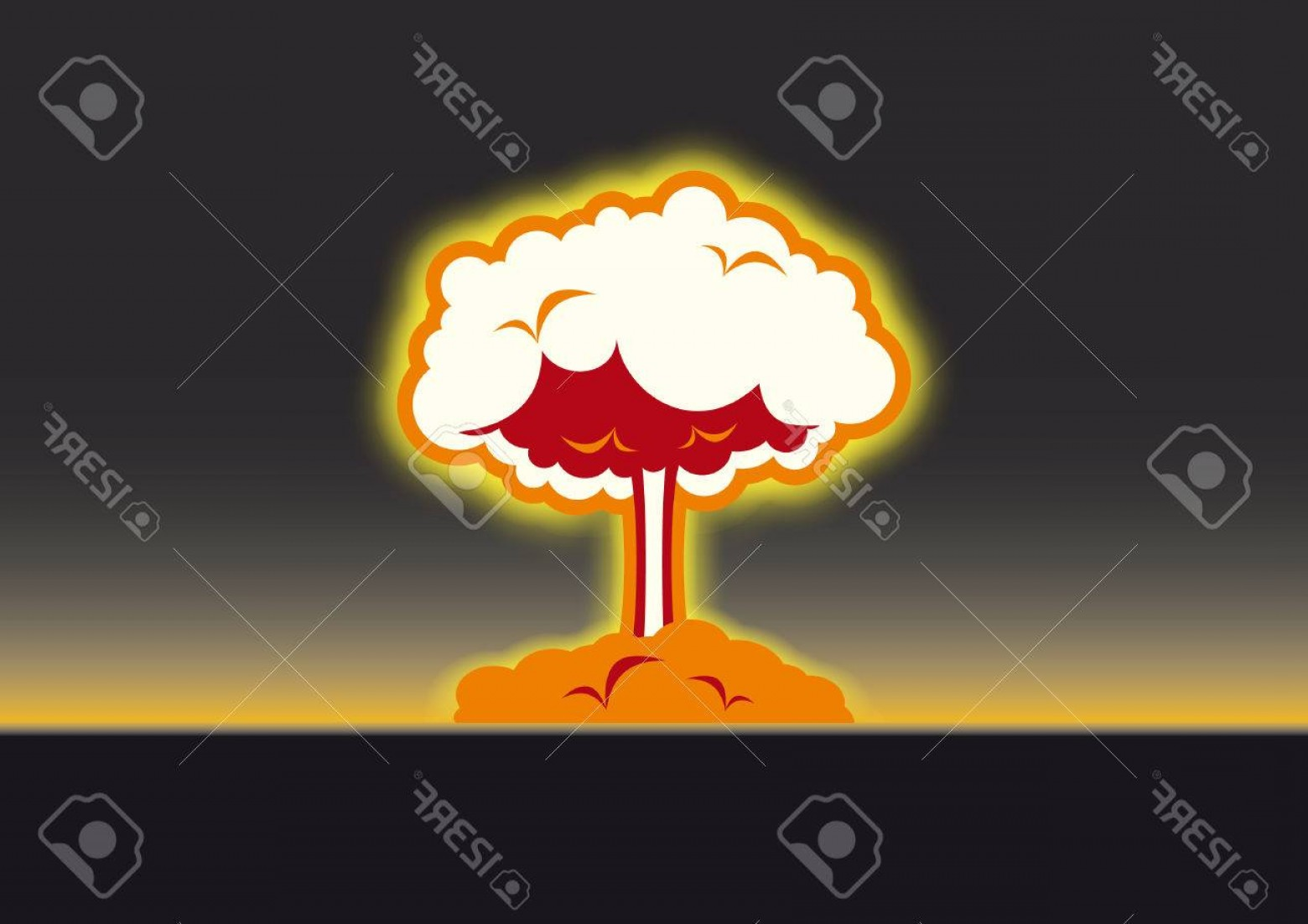 Atomic Vector Coud: Photostock Vector Nuclear Explosion Vector Black Background With Atomic Mushroom