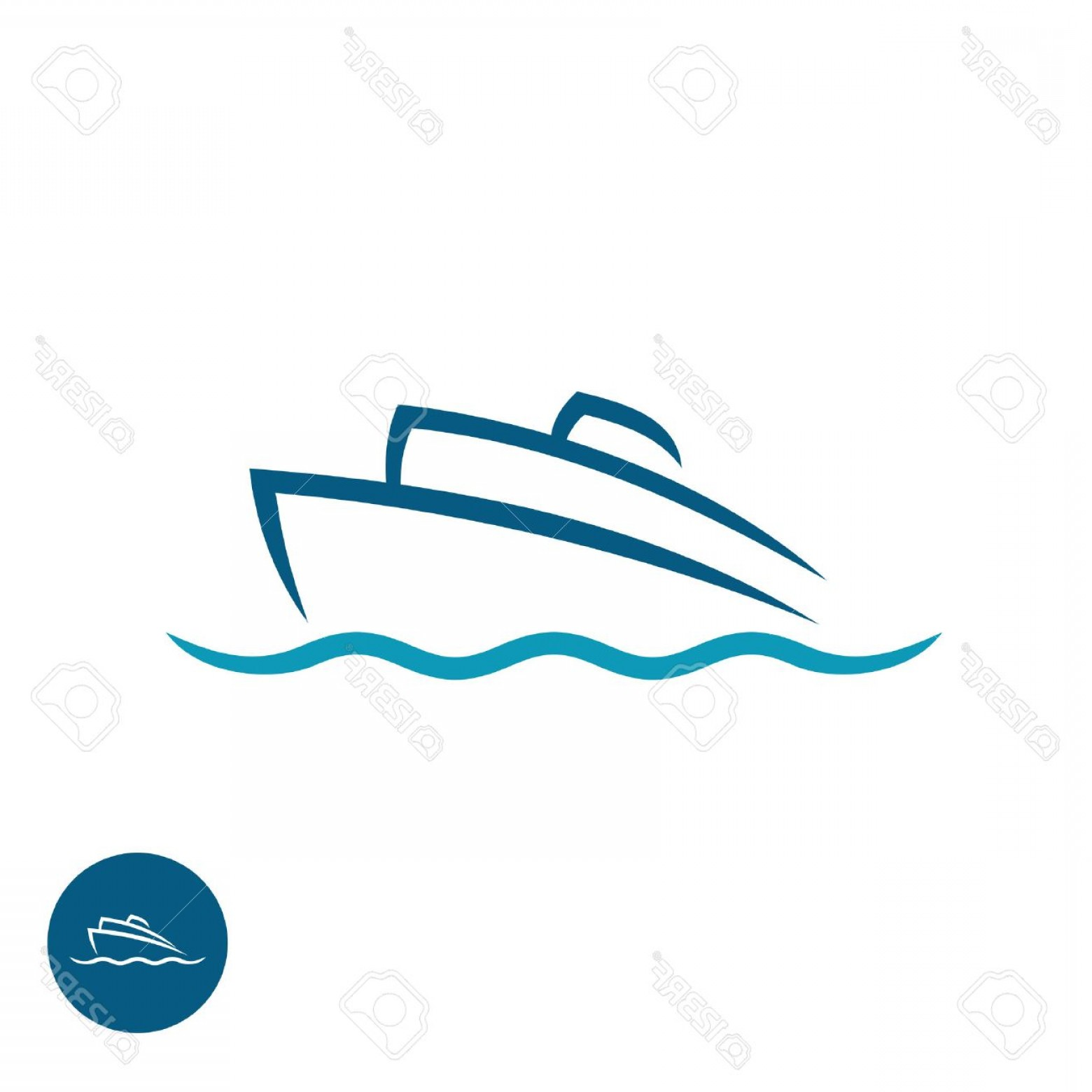 Waves With Cruise Ship Silhouette Vector: Photostock Vector Ocean Cruise Liner Ship Silhouette Simple Linear Logo