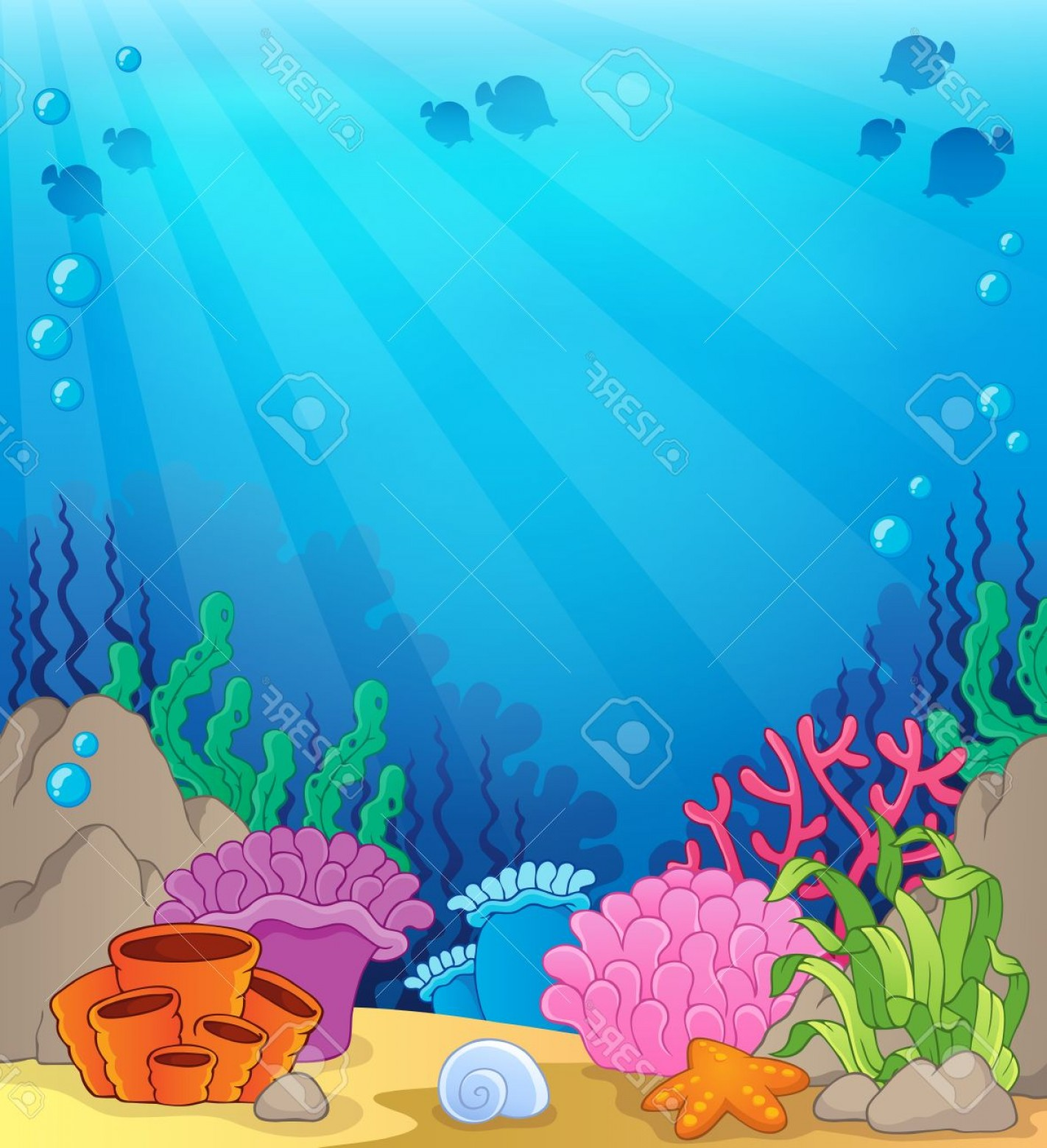 Underwater Sea Vector Art: Photostock Vector Ocean Underwater Theme Background