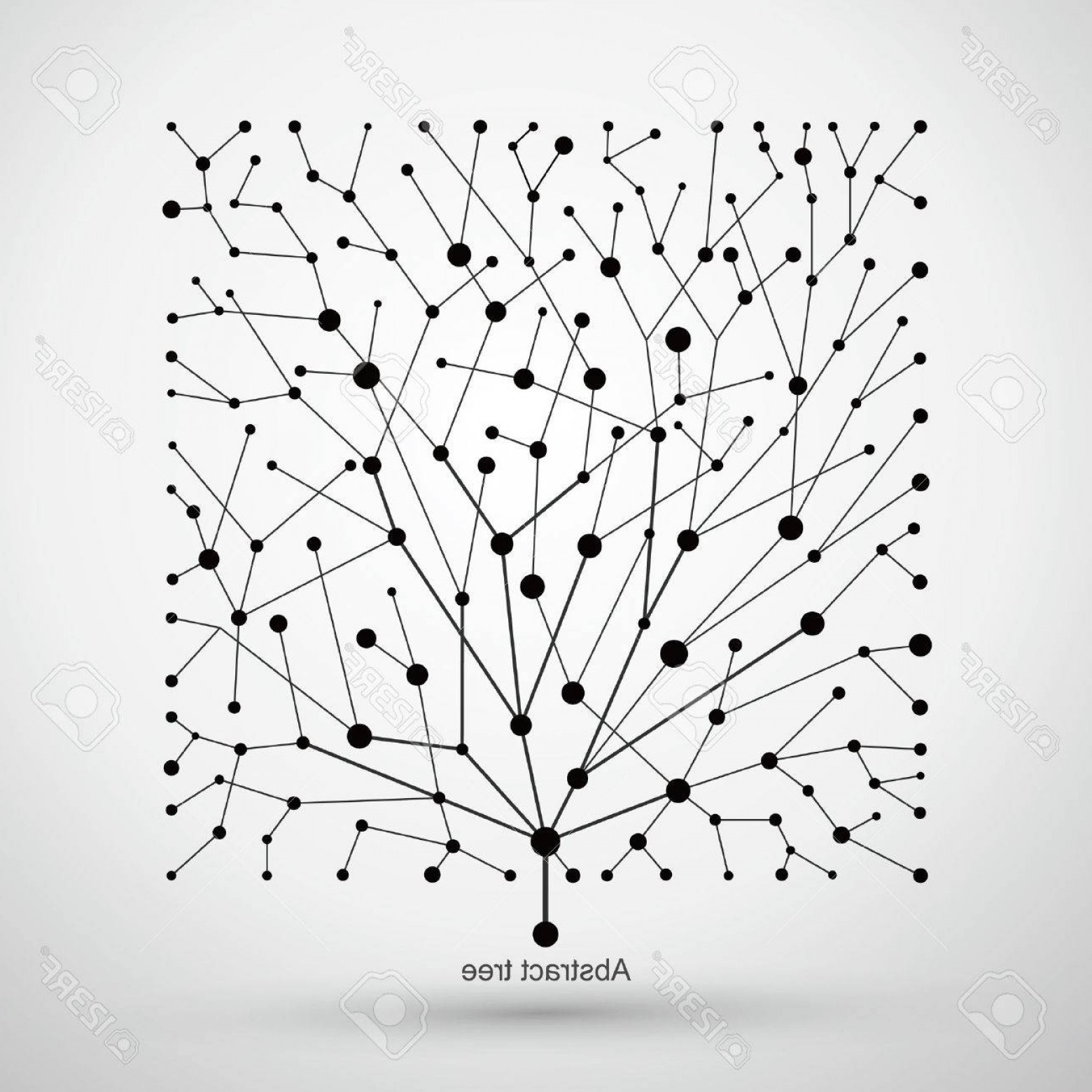 Tree Abstract Line Art And Vector: Photostock Vector Of Points And Lines Of Trees Abstract Graphics
