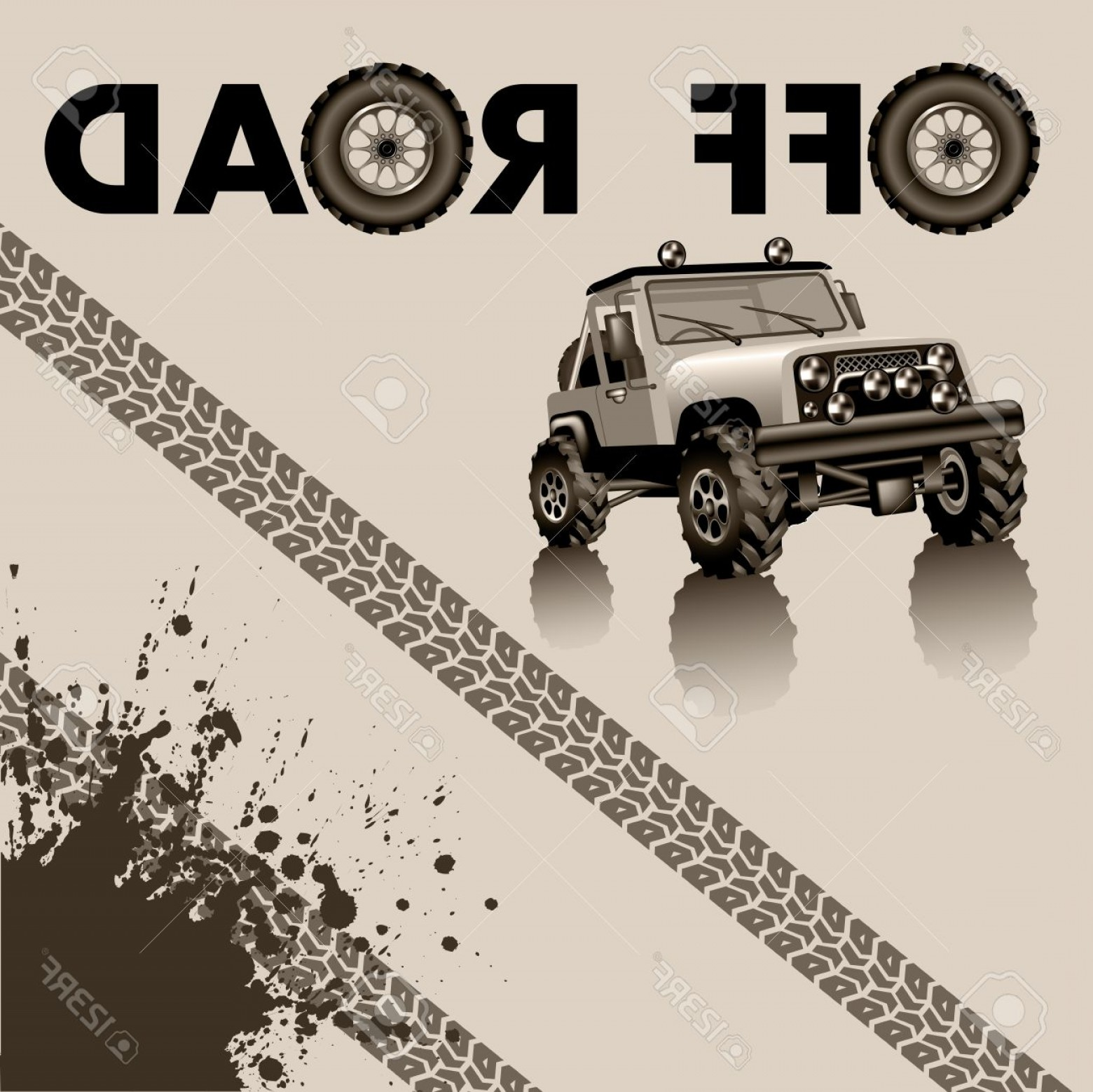 Jeep Tire Vector: Photostock Vector Off Road Car And Tire Tracks Vector Illustration