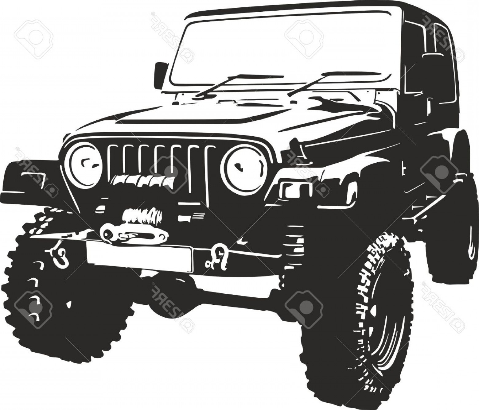 Jeep Off-Road Vector Art: Photostock Vector Offroad Vehicle In Black Color