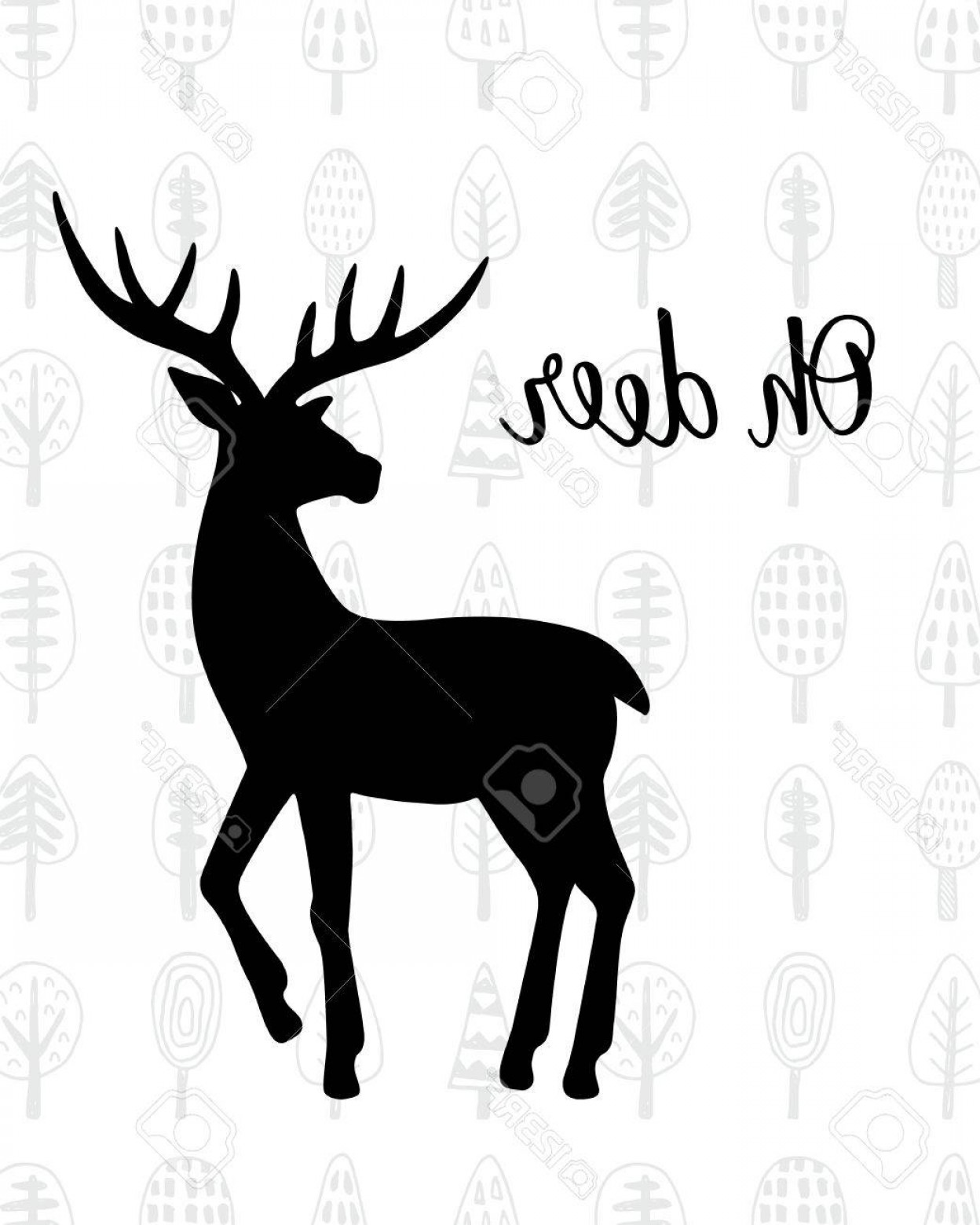 Black And White Holiday Deer Vector: Photostock Vector Oh Dear Winter Holidays Hand Drawn Deer Vector Illustration Greeting Card Poster Invitation Wall Art