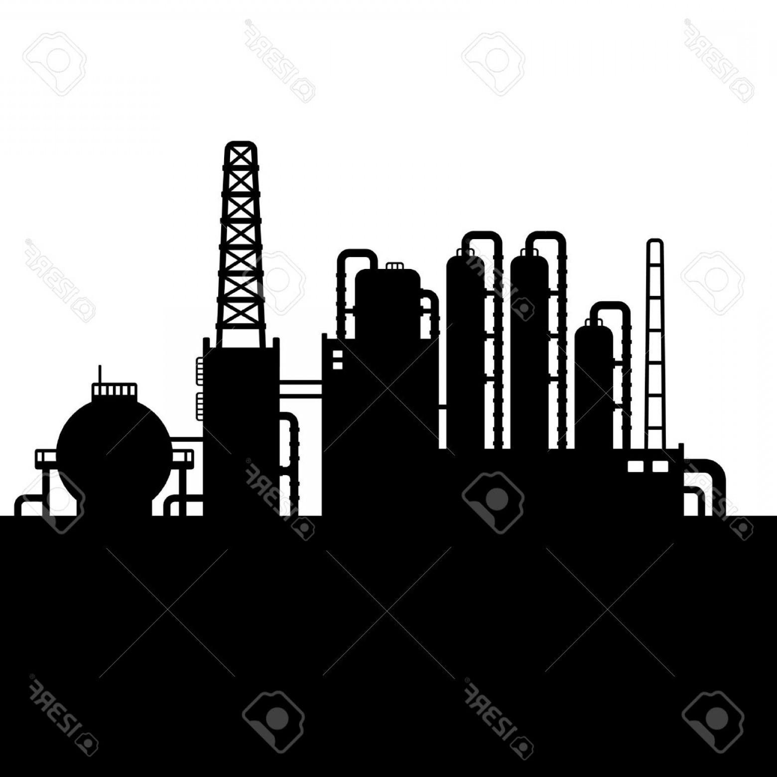 Factory Vector Skyline: Photostock Vector Oil Refinery Plant And Chemical Factory Silhouette Vector Illustration