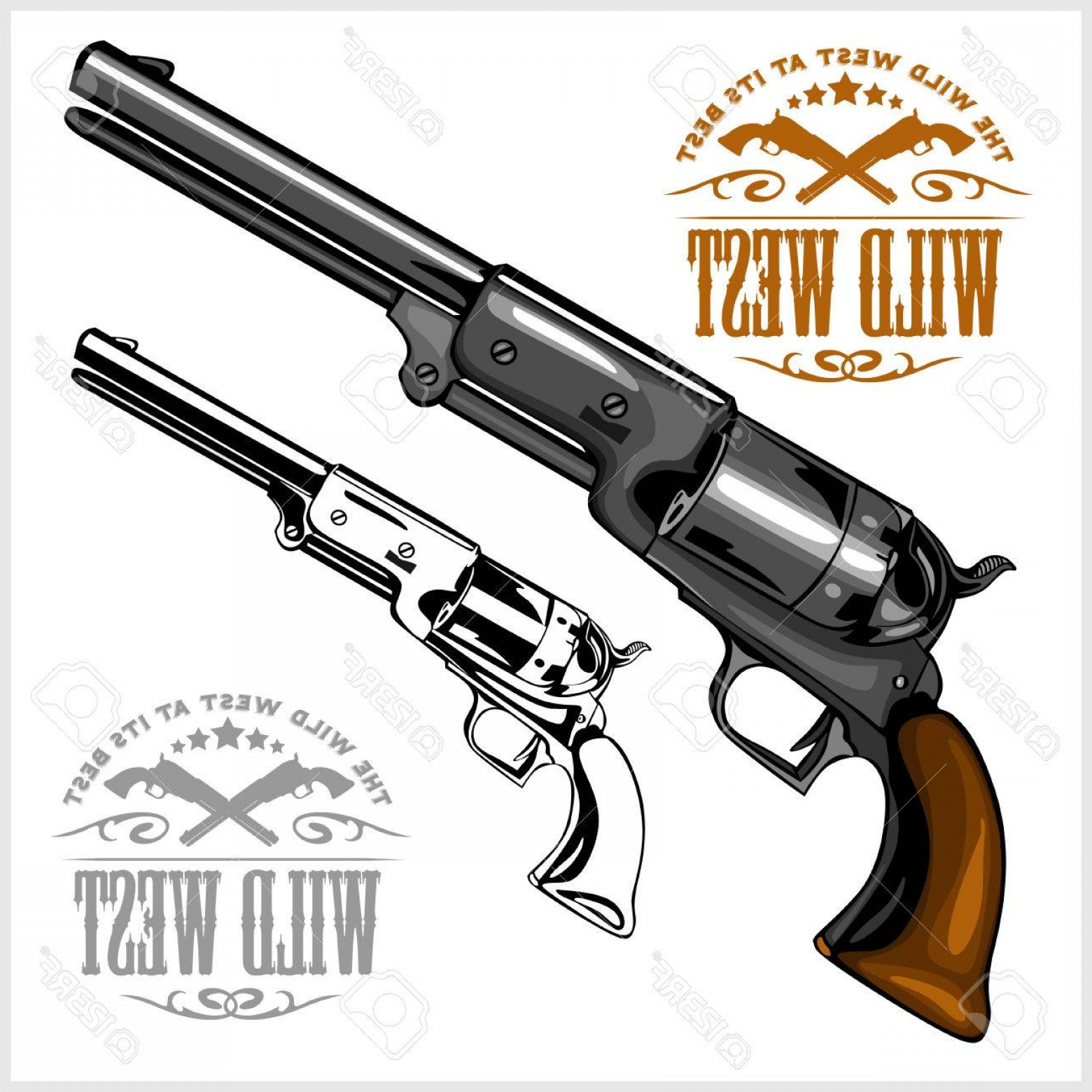 Vector Old Colt Revolvers: Photostock Vector Old American Colt Revolver With Emblem Wild West On White