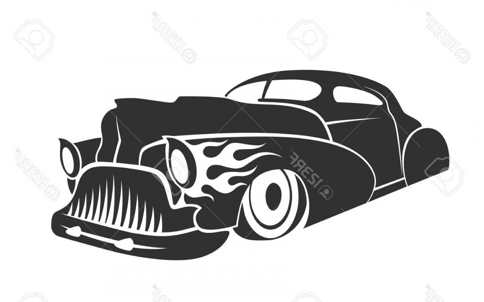 Old School Car Vector: Photostock Vector Old Custom Car Silhouette Hot Rod Low Rider Coupe Isolated Vector Illustration