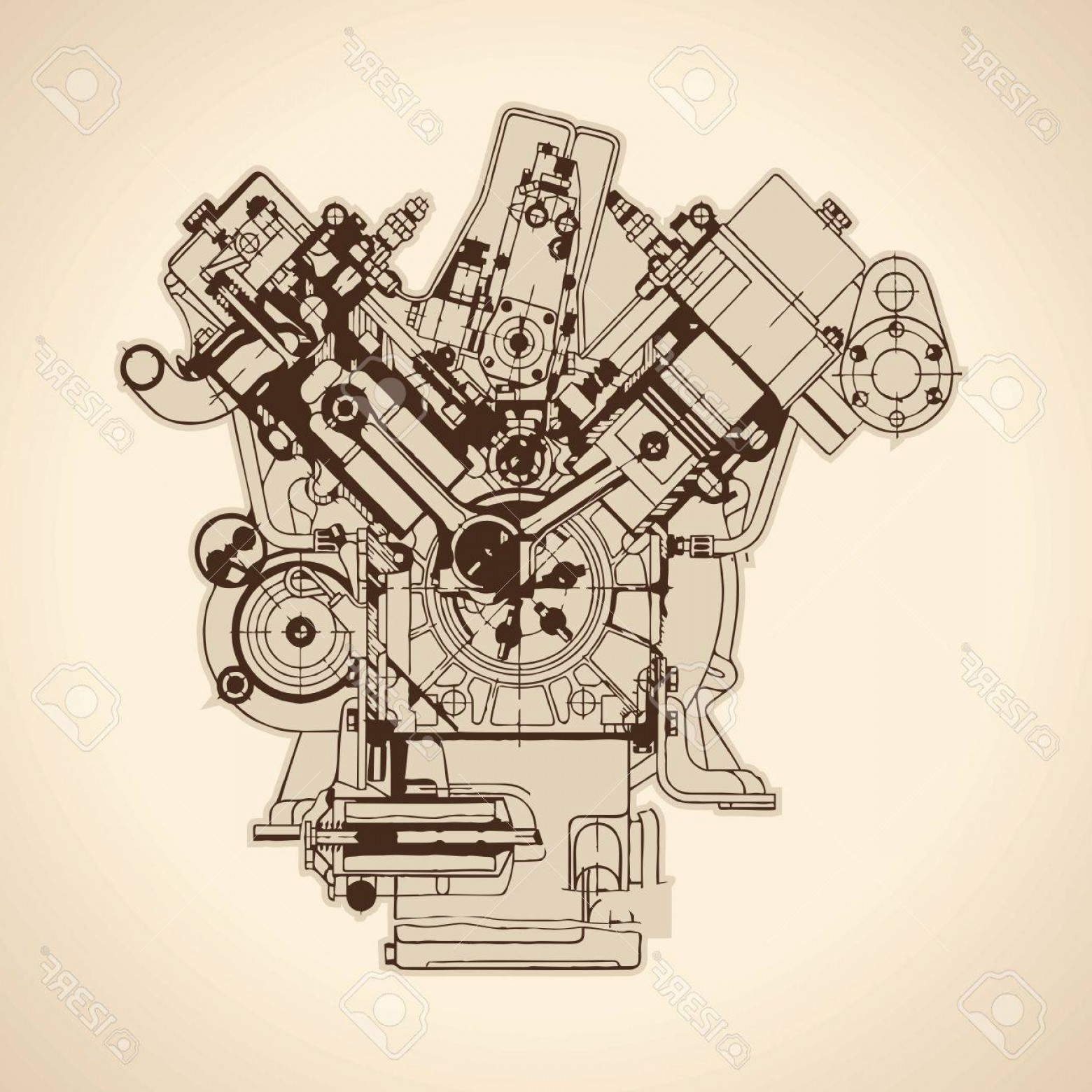 Combustible Engine Vector: Photostock Vector Old Internal Combustion Engine Drawing Vector