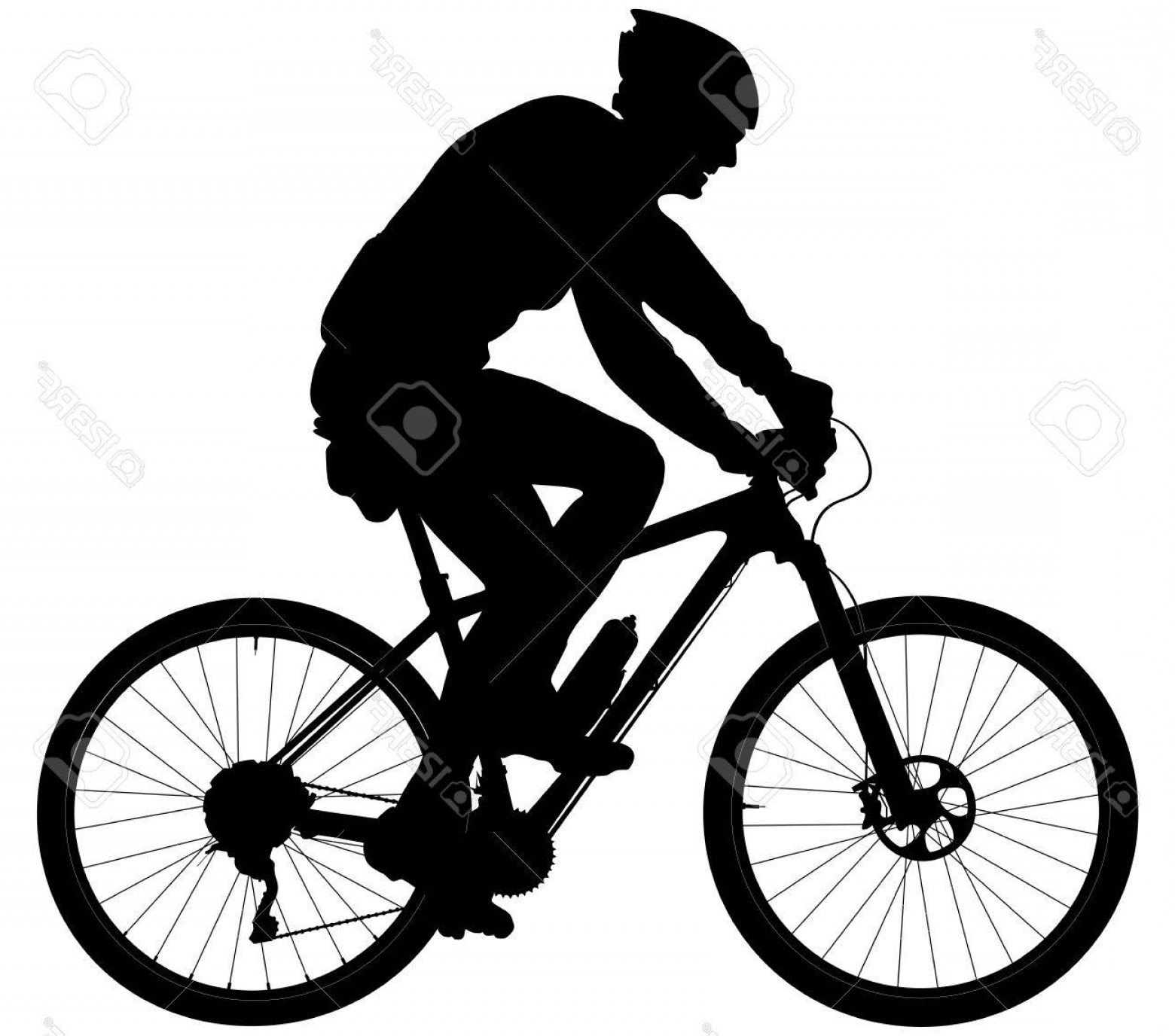 Mountain Bike Silhouette Vector: Photostock Vector Old Man Cyclists On Sports Mountainbike Black Silhouette