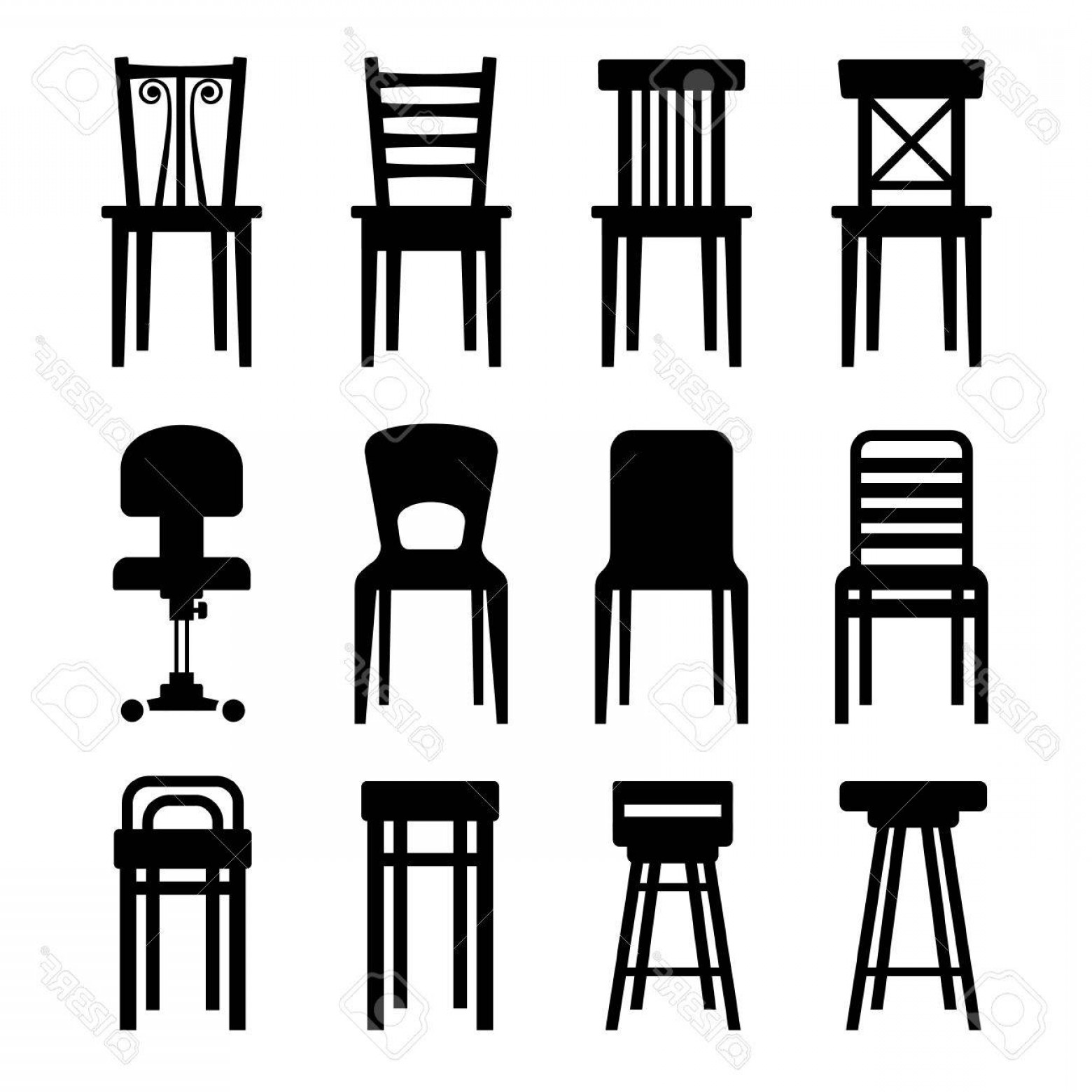 Vector Vintage Chair: Photostock Vector Old Modern Office And Bar Chairs Set Vector Illustration