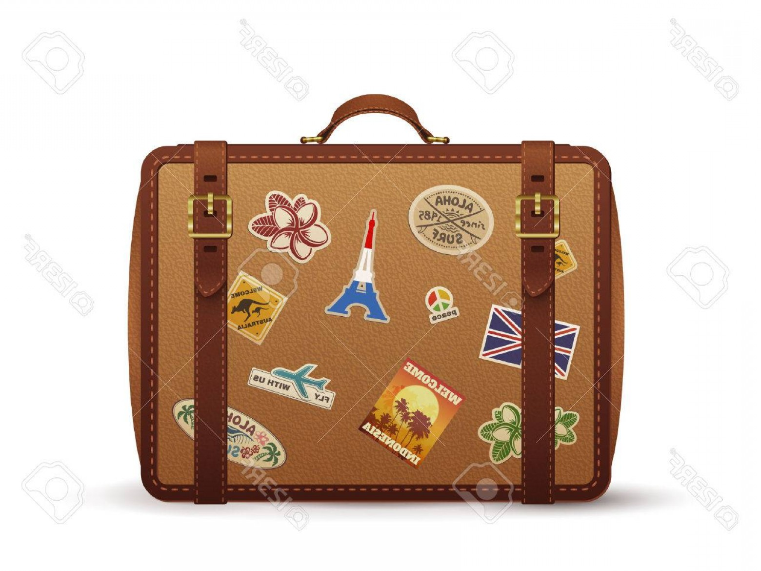Vintage Luggage Vector: Photostock Vector Old Vintage Leather Suitcase With Travel Stickers Illustration Isolated On White