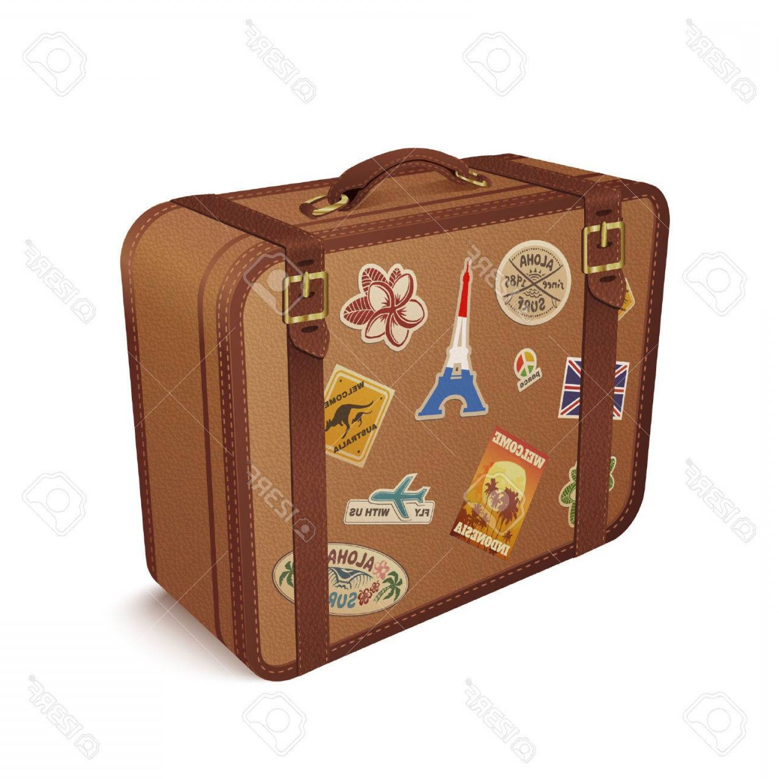 Vintage Luggage Vector: Photostock Vector Old Vintage Leather Suitcase With Travel Stickers Vector Illustration