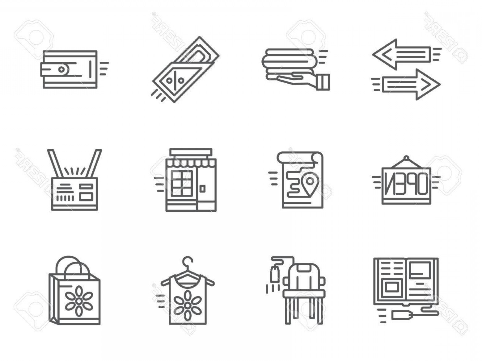 Vector Marketing Commission: Photostock Vector Online Shopping Elements Internet Commission Store Second Hand Set Of Black Simple Line Design Icons
