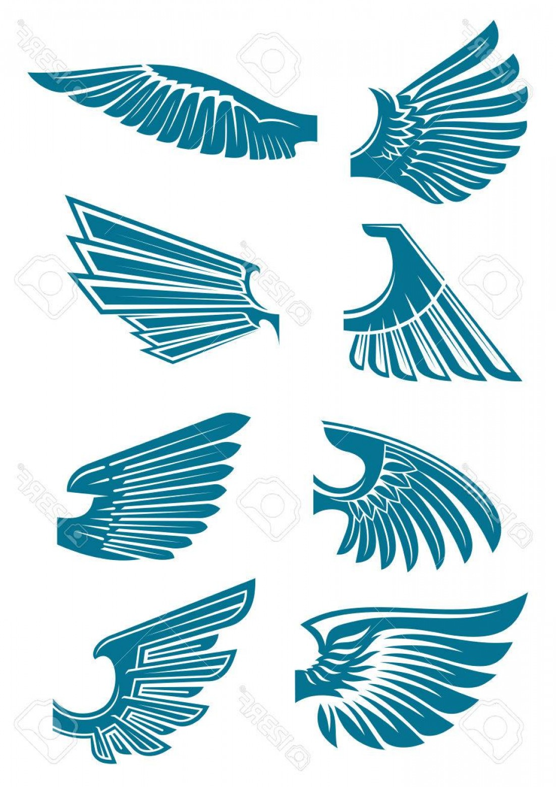 Falcon Wing Vector Art: Photostock Vector Open Bird Wings Icons For Heraldic Symbol Or Tattoo Design Usage With Medieval Stylized Blue Silhoue