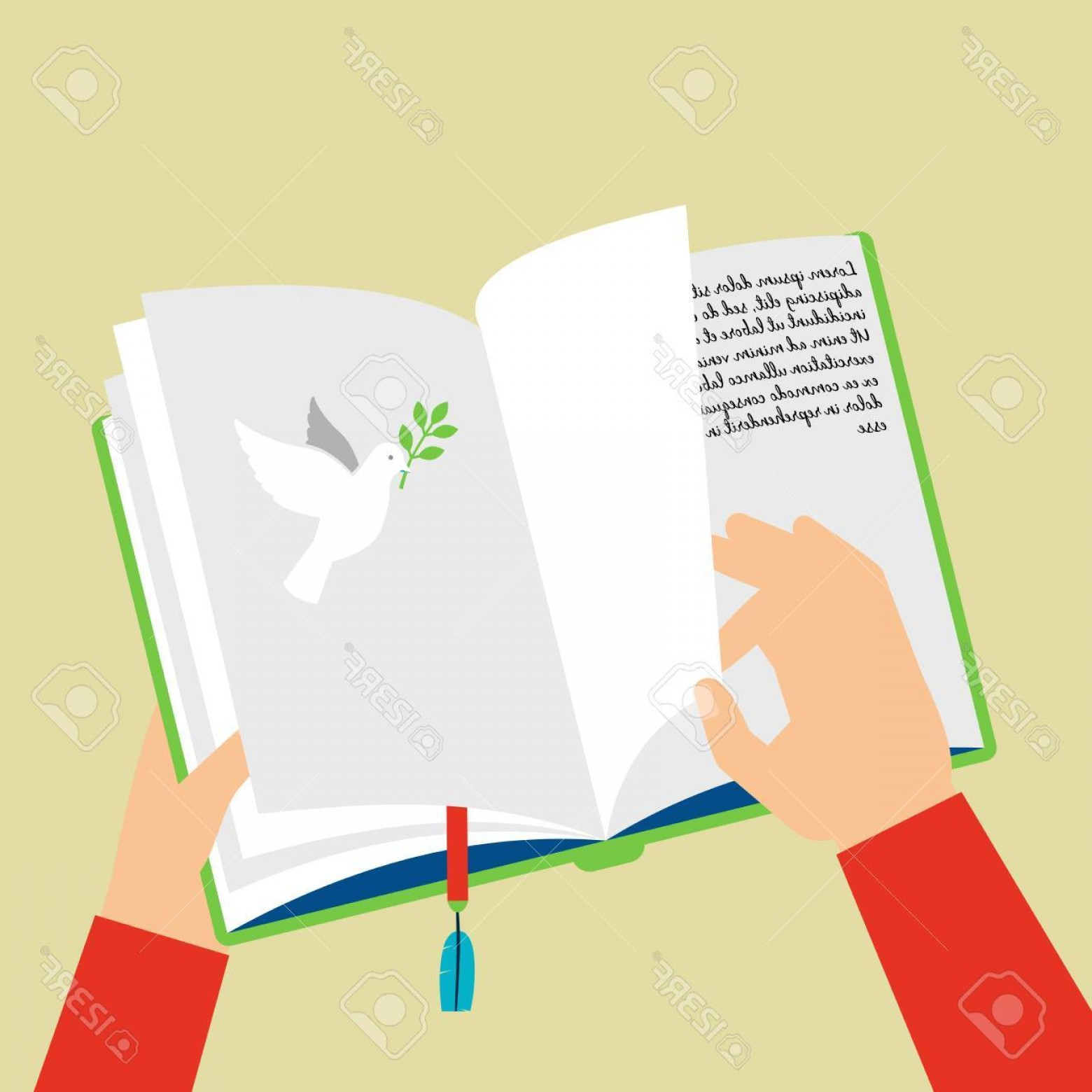 Notepad Writing Hand Vector: Photostock Vector Open Notepad Scheduler With Bookmark Hand Flips Through Pages Vector Illustration