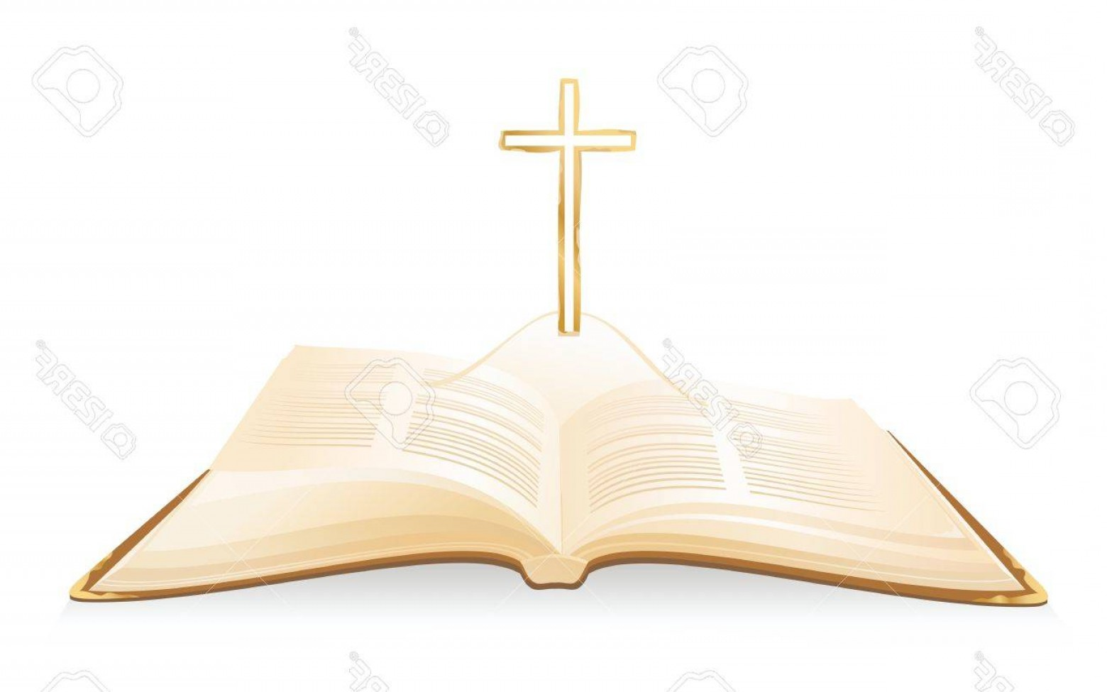 Holy Bible Vector: Photostock Vector Opened Holy Bible With Cross Above It Vector