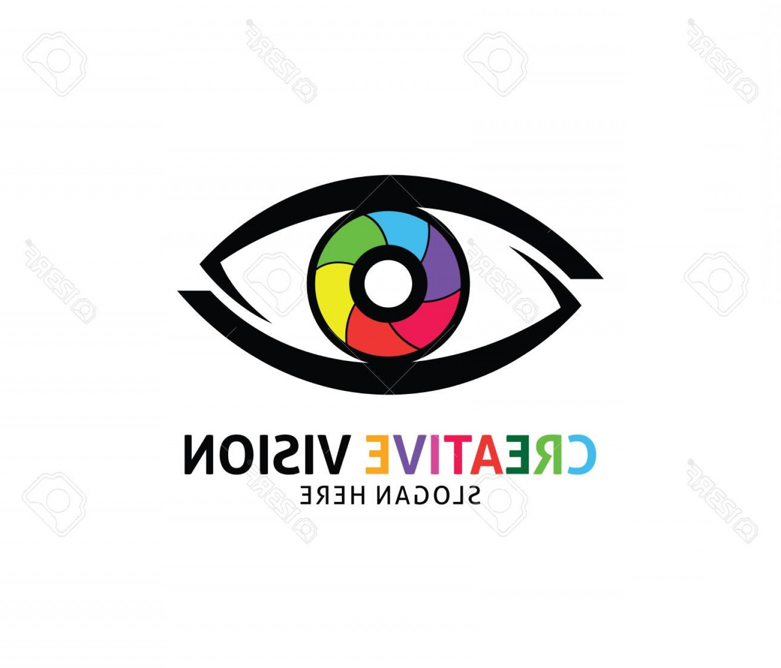Eye Vector Logo: Photostock Vector Optical Technology Eye Future Vision Vector Logo Design Template