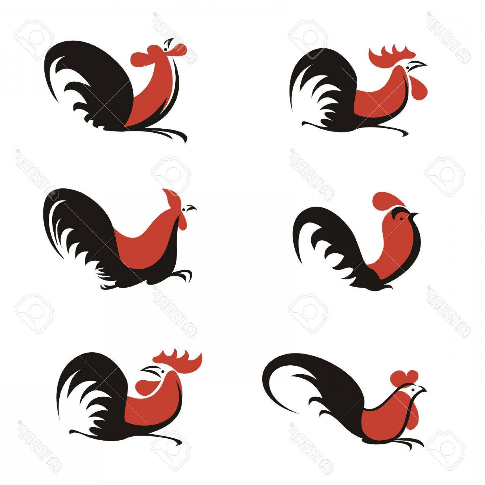 Chicken Vector Black: Photostock Vector Orange And Black Chicken Rooster Logo Sign Vector Art Set Design