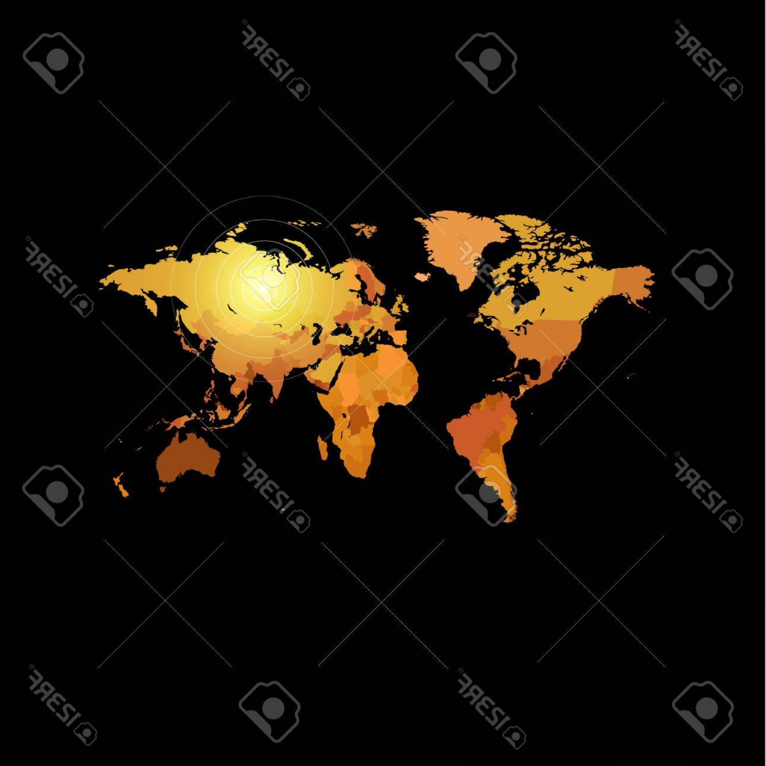Geographic Leaf Vector: Photostock Vector Orange Color World Map On Black Background Globe Design Backdrop Cartography Element Wallpaper Geogr