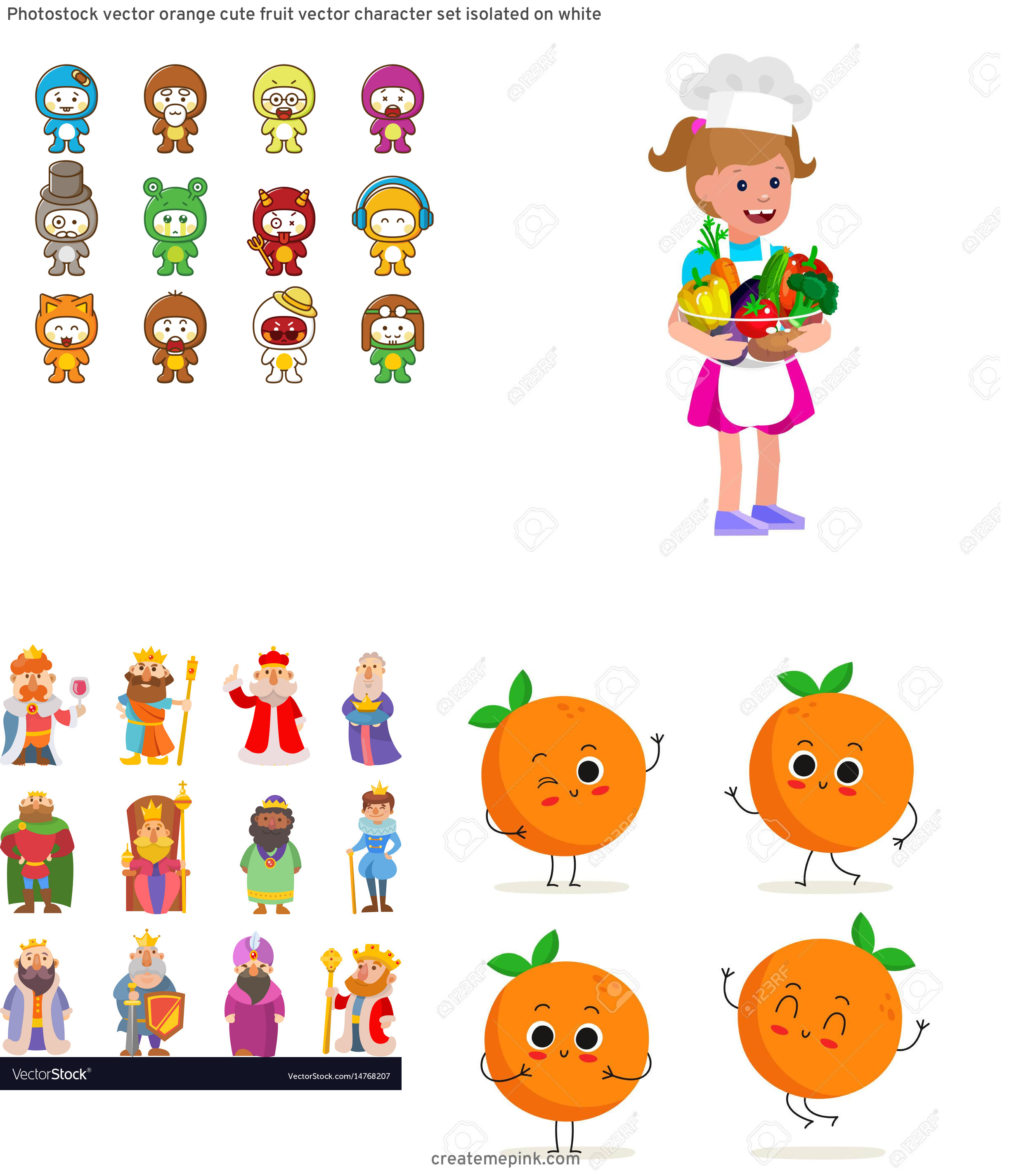 Vute Vector Character: Photostock Vector Orange Cute Fruit Vector Character Set Isolated On White