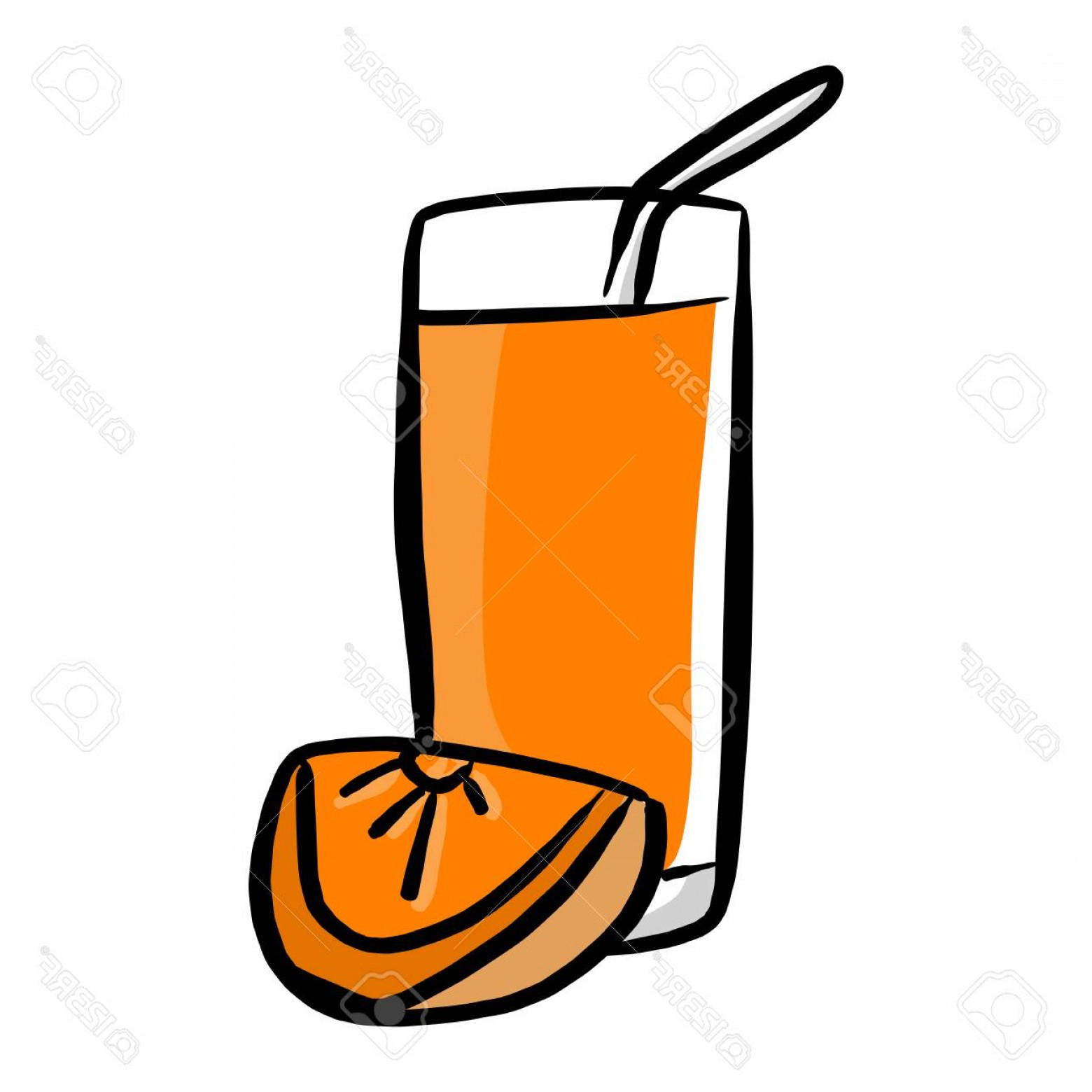 Juice Vector Black: Photostock Vector Orange Juice Vector Illustration Sketch Hand Drawn With Black Lines Isolated On White Background