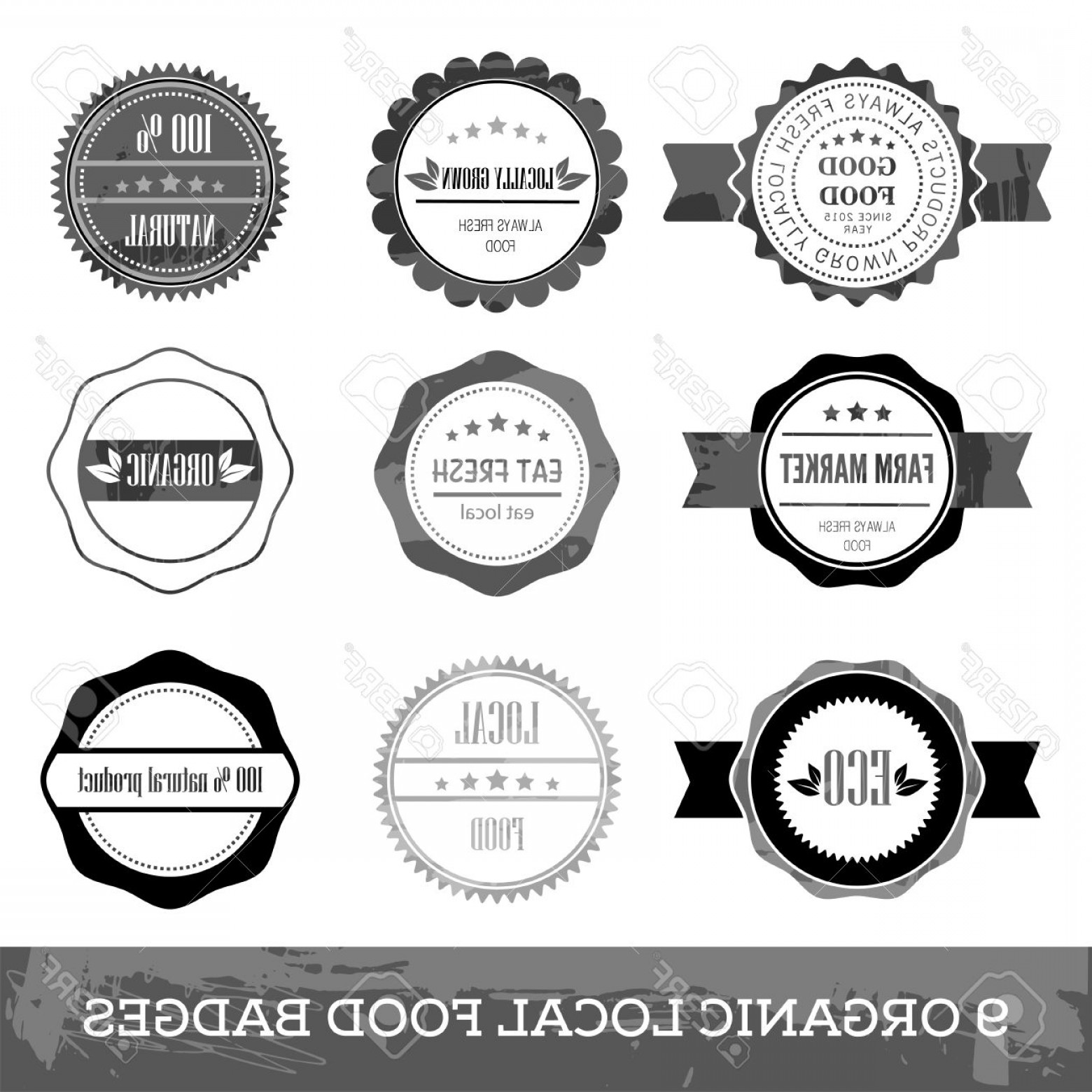 Free Vector Hipster: Photostock Vector Organic Fresh Local Food Hipster Simple Circle Badge Flat Design