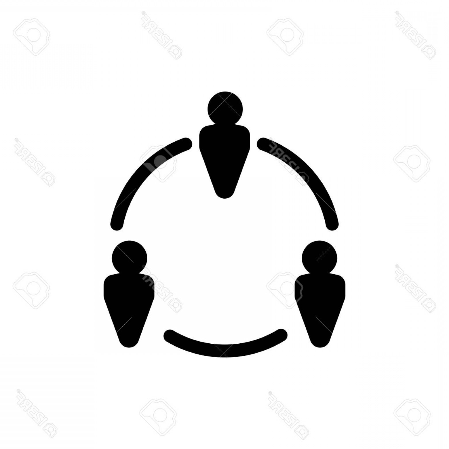Vector Black And White Organization: Photostock Vector Organization Team Icon In Black And White Illustration