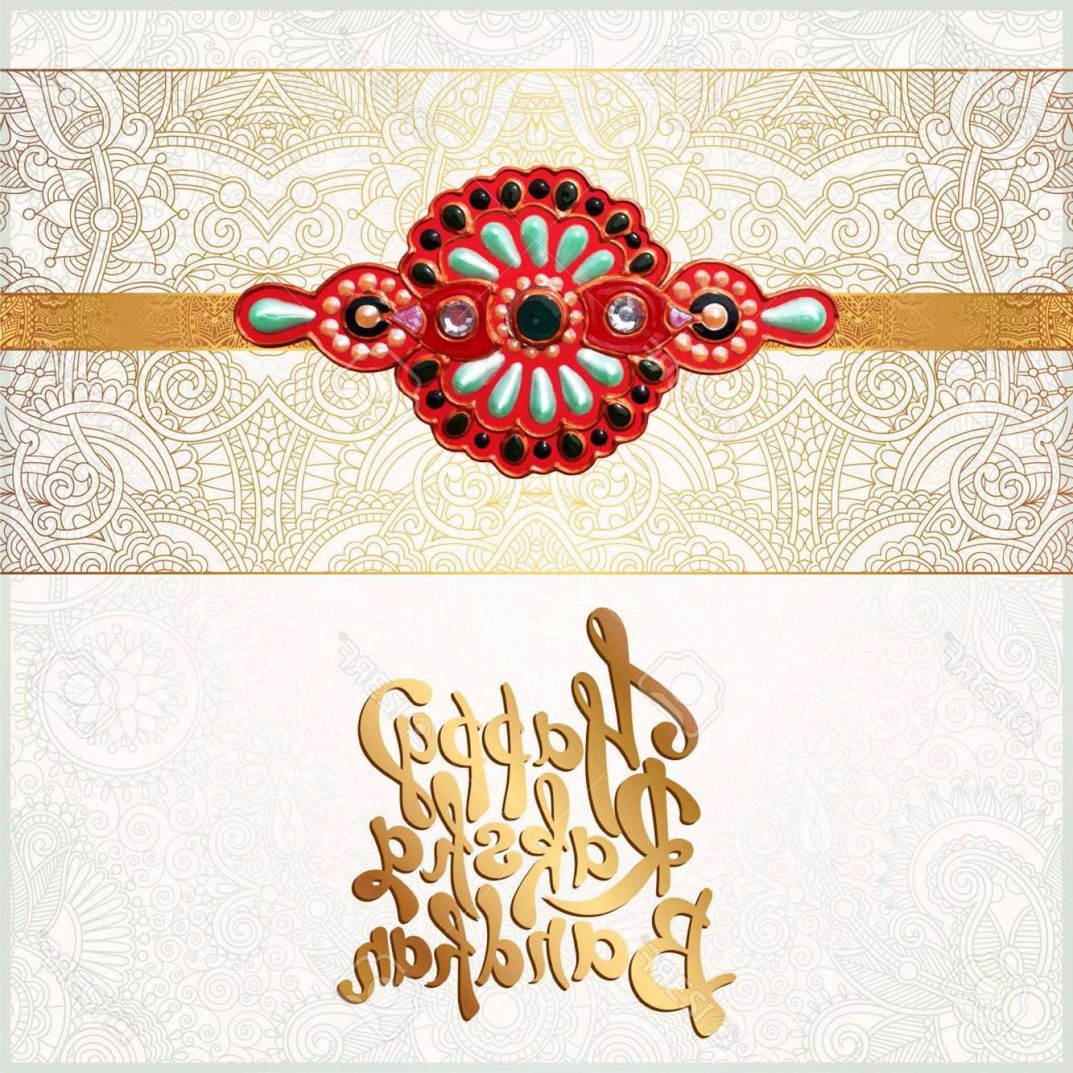 Sisters Lettering Vector: Photostock Vector Original Handmade Rakhi On Floral Background With Lettering Happy Raksha Bandhan For Indian Festival