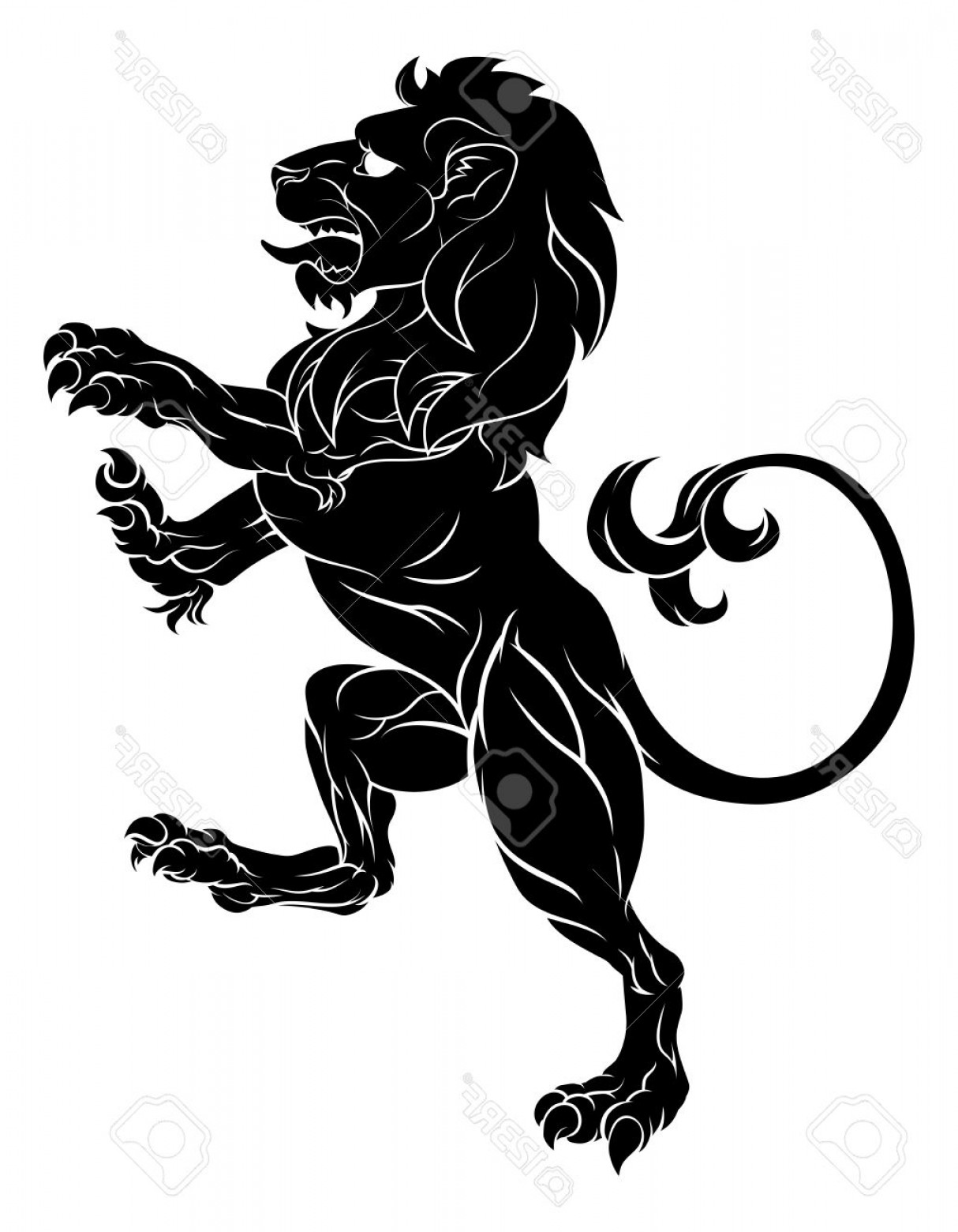 Standing Lions Crest Vector: Photostock Vector Original Illustration Of A Rampant Lion Such As From A Crest Or Coat Of Arms Emblem Standing On Back