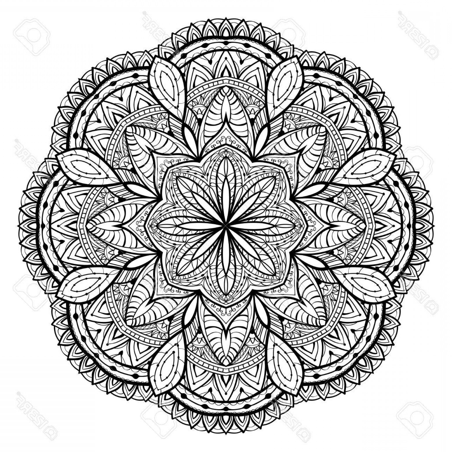 White Lace Vector: Photostock Vector Ornamental Black Lace Vector Mandala On A White Background