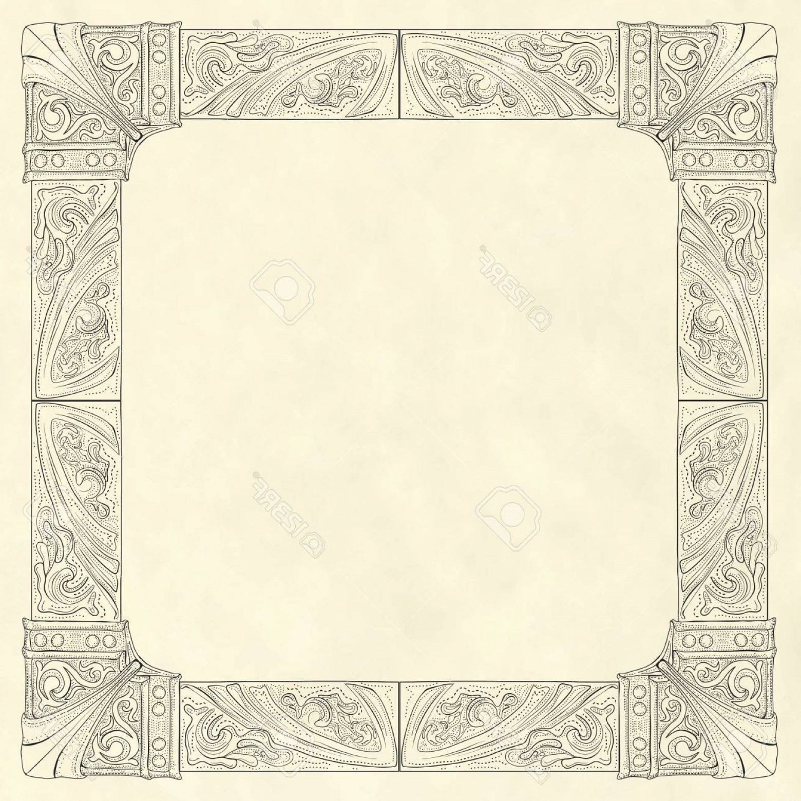 Vector Ornate Vintage Frame Blank: Photostock Vector Ornate Frame In Vintage Engraving Style On Blank Old Paper Background Template