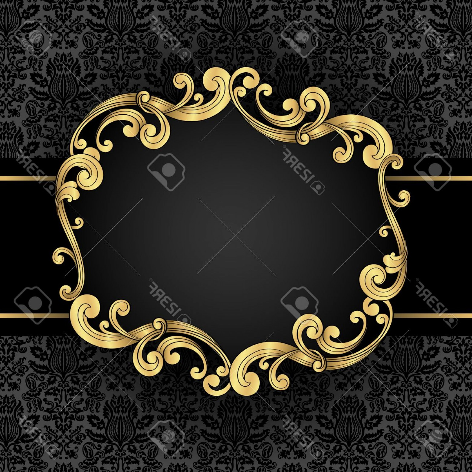 Vector Ornate Vintage Frame Blank: Photostock Vector Ornate Gold Frame Gold Ornate Vintage Frame With Seamless Damask Background File Is Layered For Easy