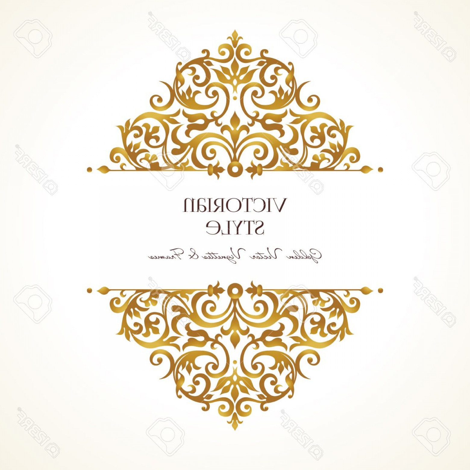 Victorian Style Frame Vector: Photostock Vector Ornate Vintage Vignettes Luxury Floral Golden Decor In Victorian Style Template Frame For Greeting C
