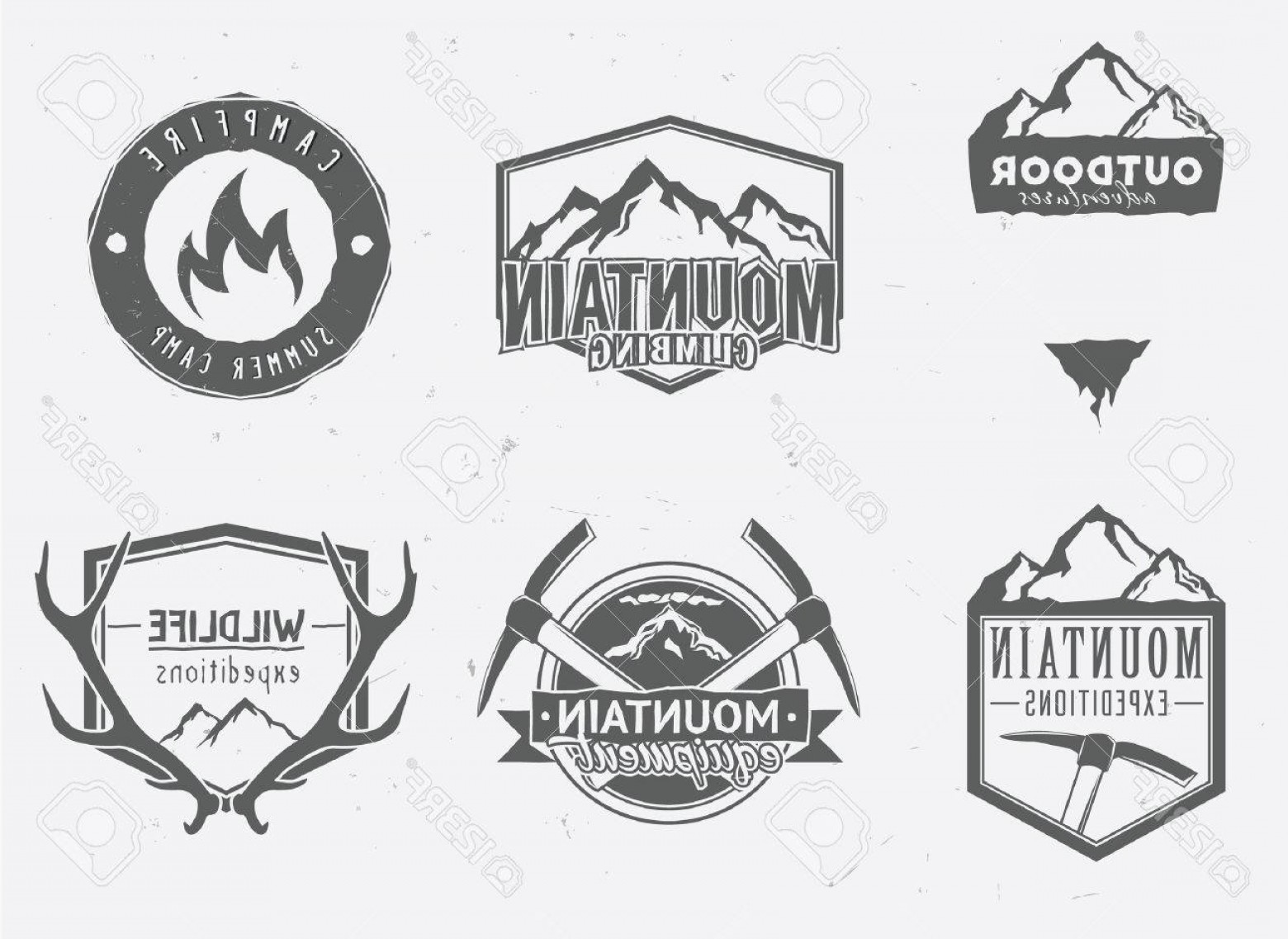 Wildlife Vector Logo Badge: Photostock Vector Outdoor Adventures Icons Wildlife Badges Mountain Exploration Labels In Vintage Style Deer Antlers M