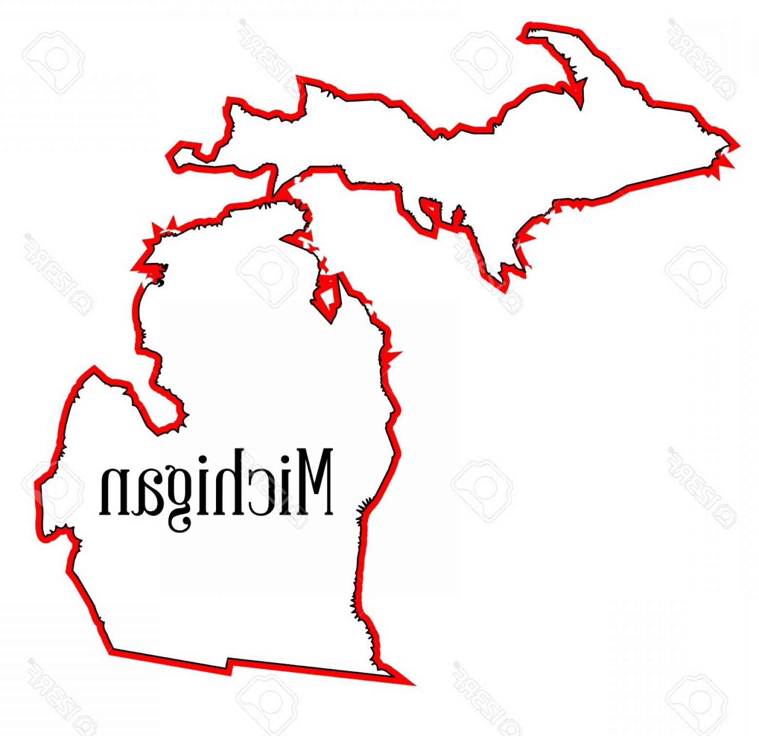 Michigan Vector Artwork: Photostock Vector Outline Map Of The State Of Michigan