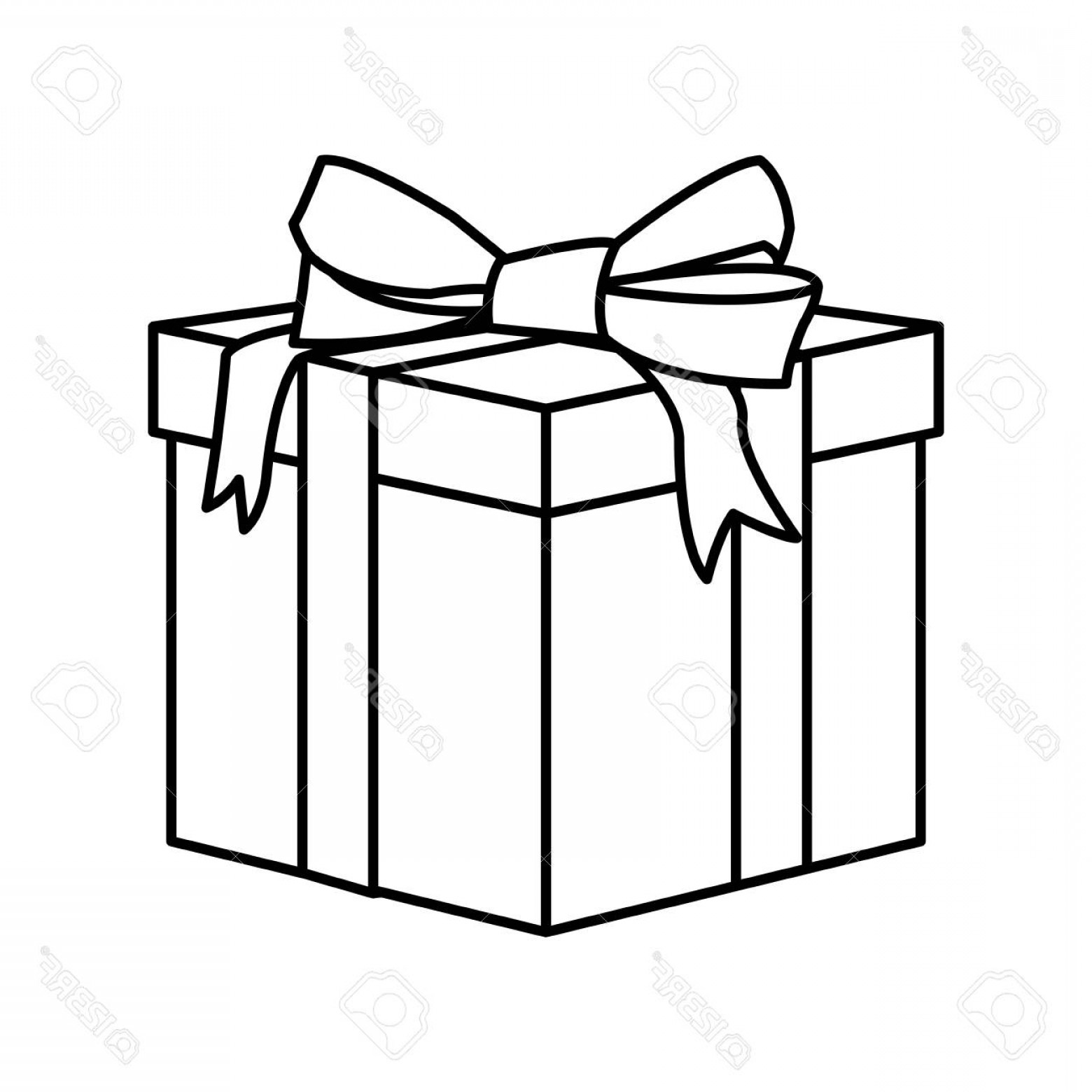 Box Outline Vector: Photostock Vector Outline Wrapped Gift Box Decorated With Big Ribbon Bow Vector Illustration Isolated
