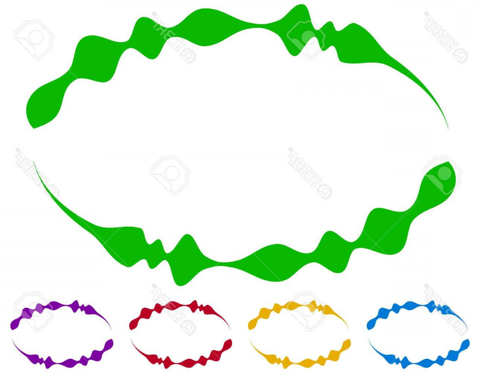 Green Oval Border Vector: Photostock Vector Oval Frames Borders In Five Colors Colorful Design Elements