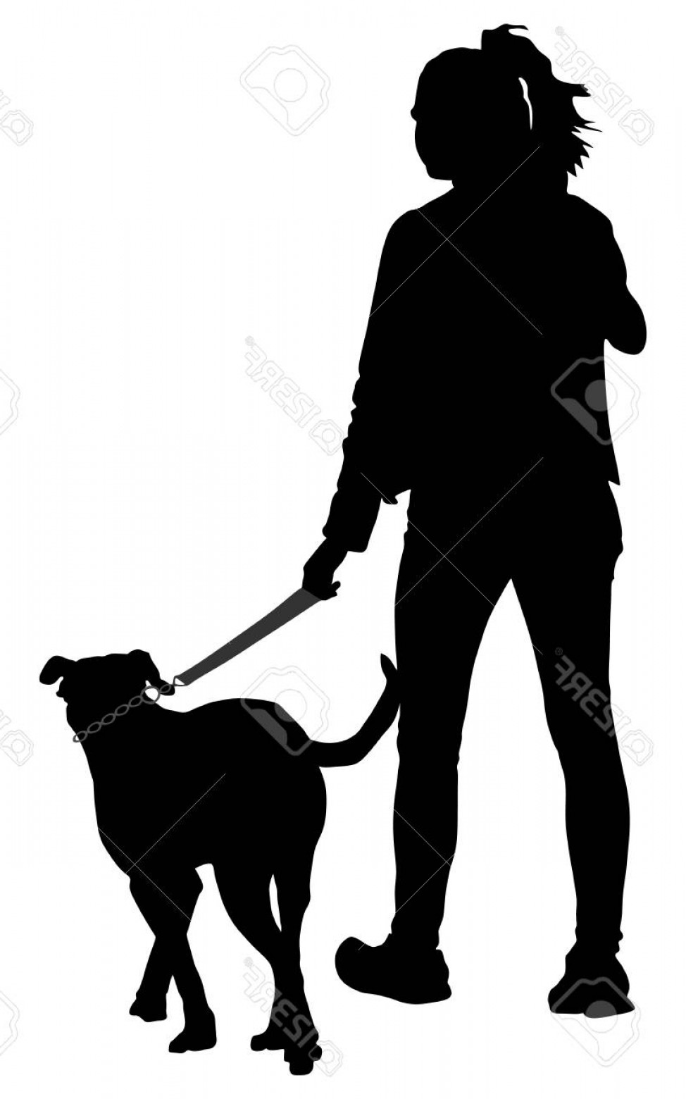 Vector Silhouette Dog Walk: Photostock Vector Owner Lady And Dog Walking In The City Woman Walking With Dog Vector Silhouette Illustration Isolate
